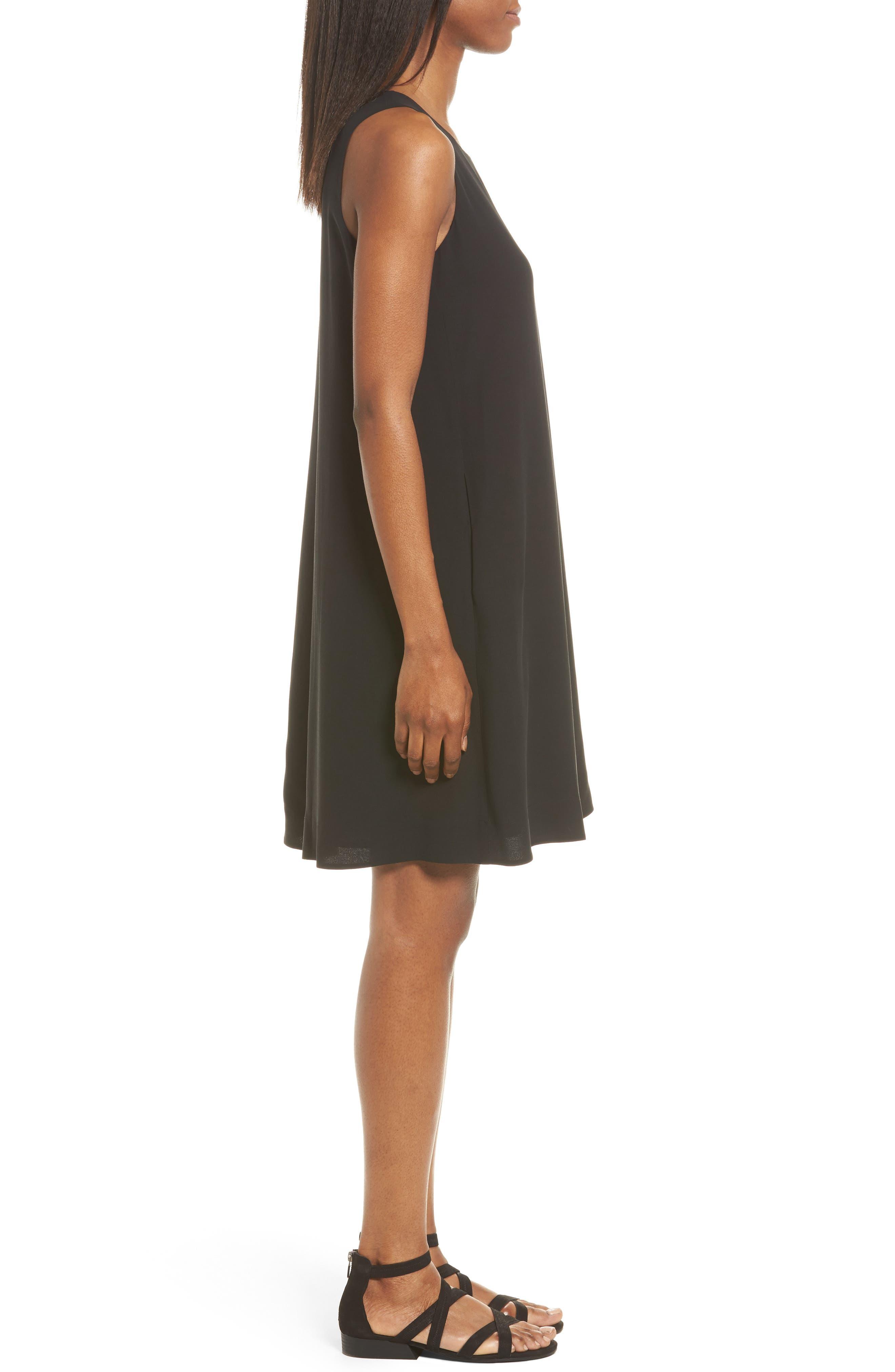 Silk A-Line Dress,                             Alternate thumbnail 3, color,                             001