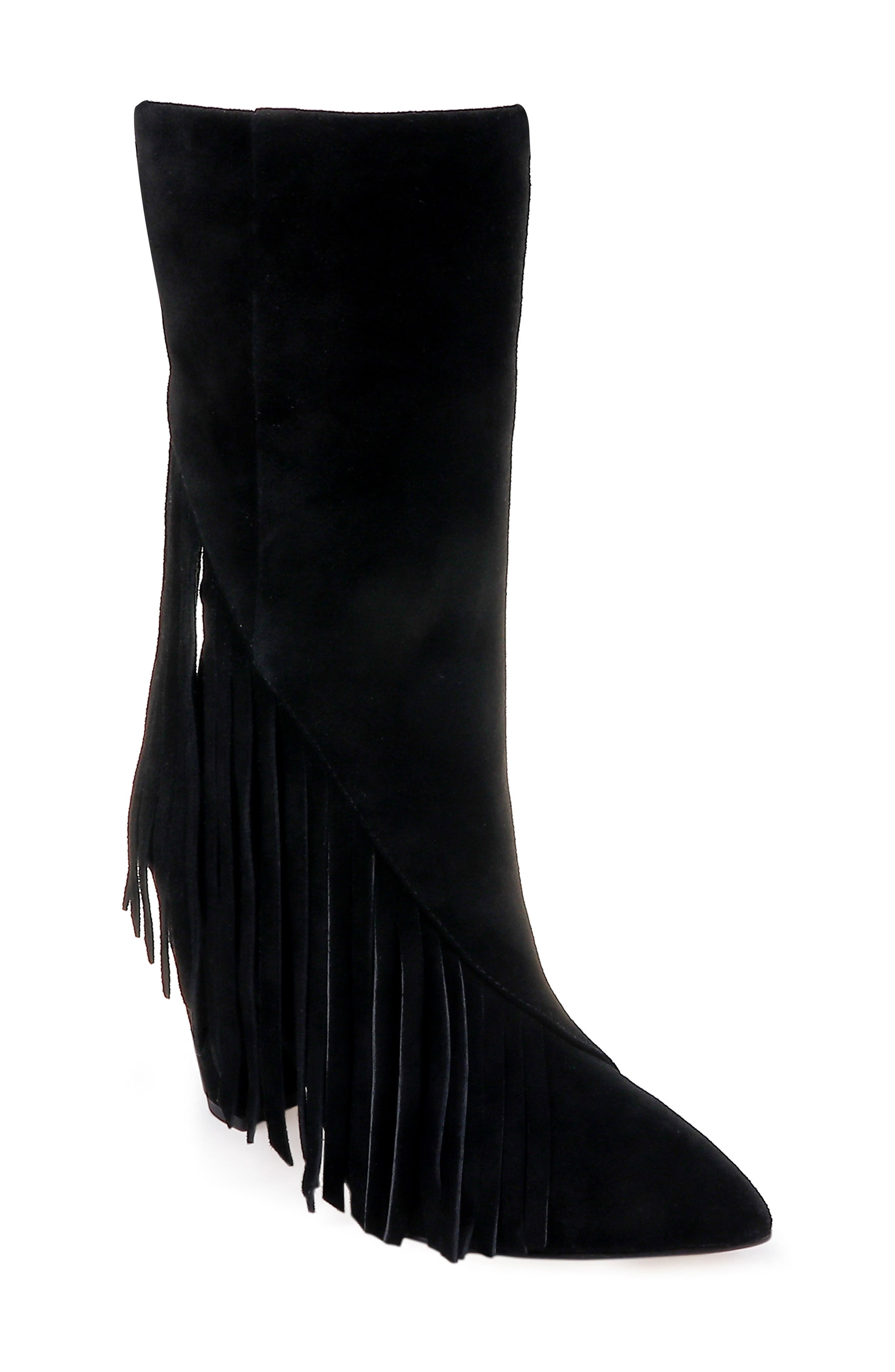 Camron Fringe Boot,                             Main thumbnail 1, color,                             BLACK SUEDE