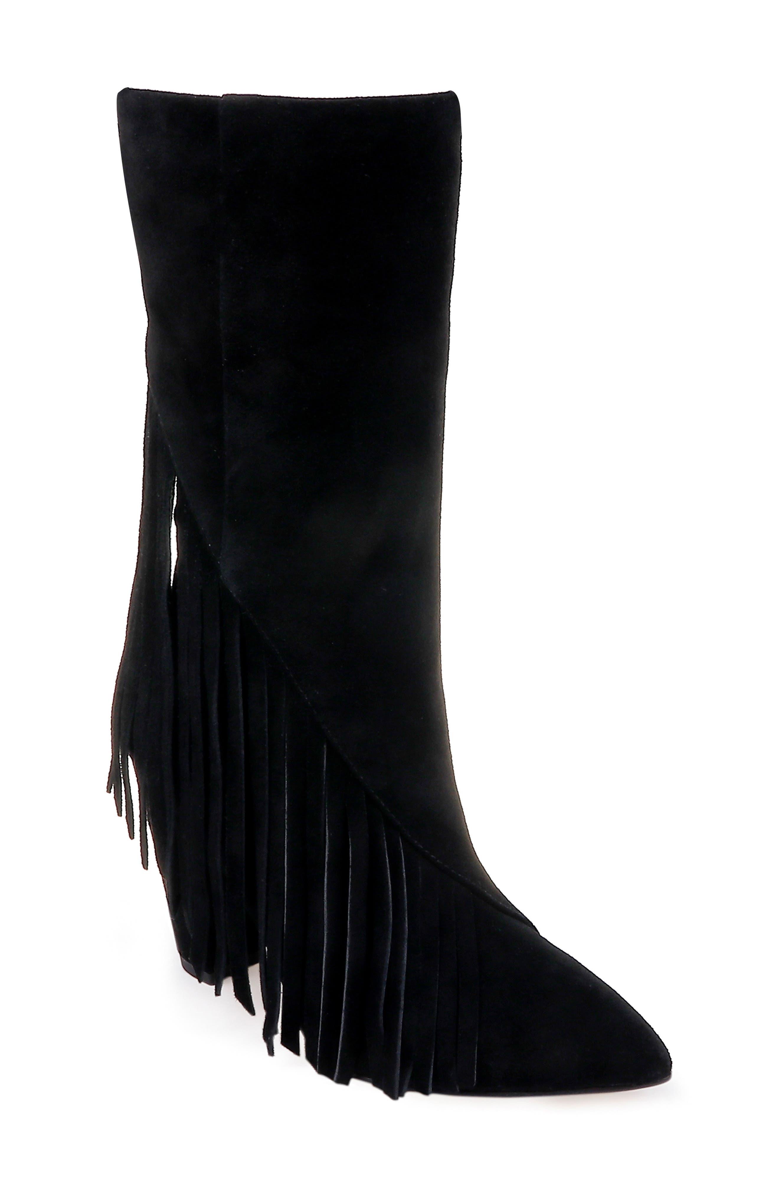 Camron Fringe Boot,                         Main,                         color, BLACK SUEDE