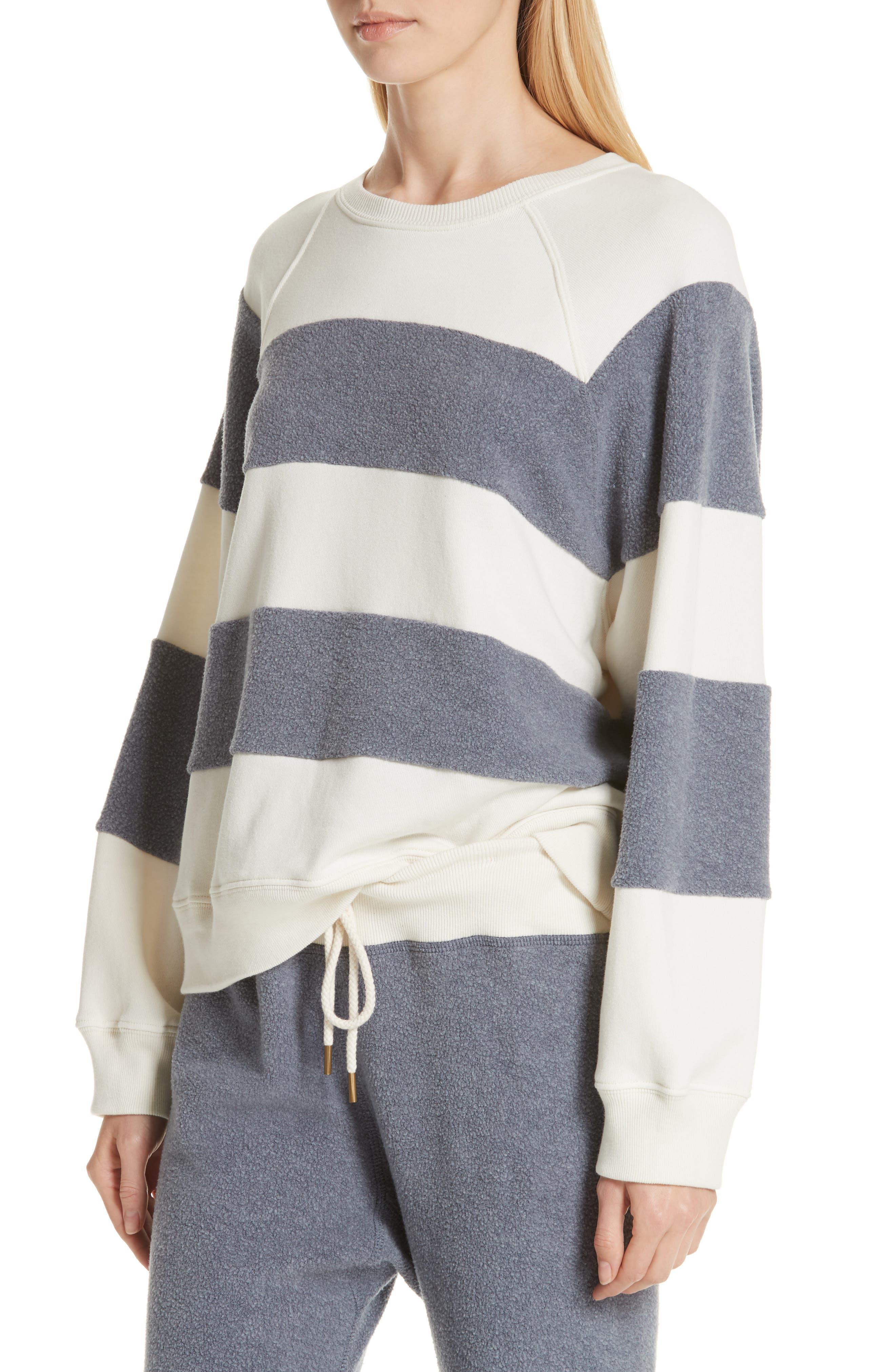 Fleece Stripe Slouch Sweatshirt,                             Alternate thumbnail 4, color,                             ENGINE BLUE AND CREAM