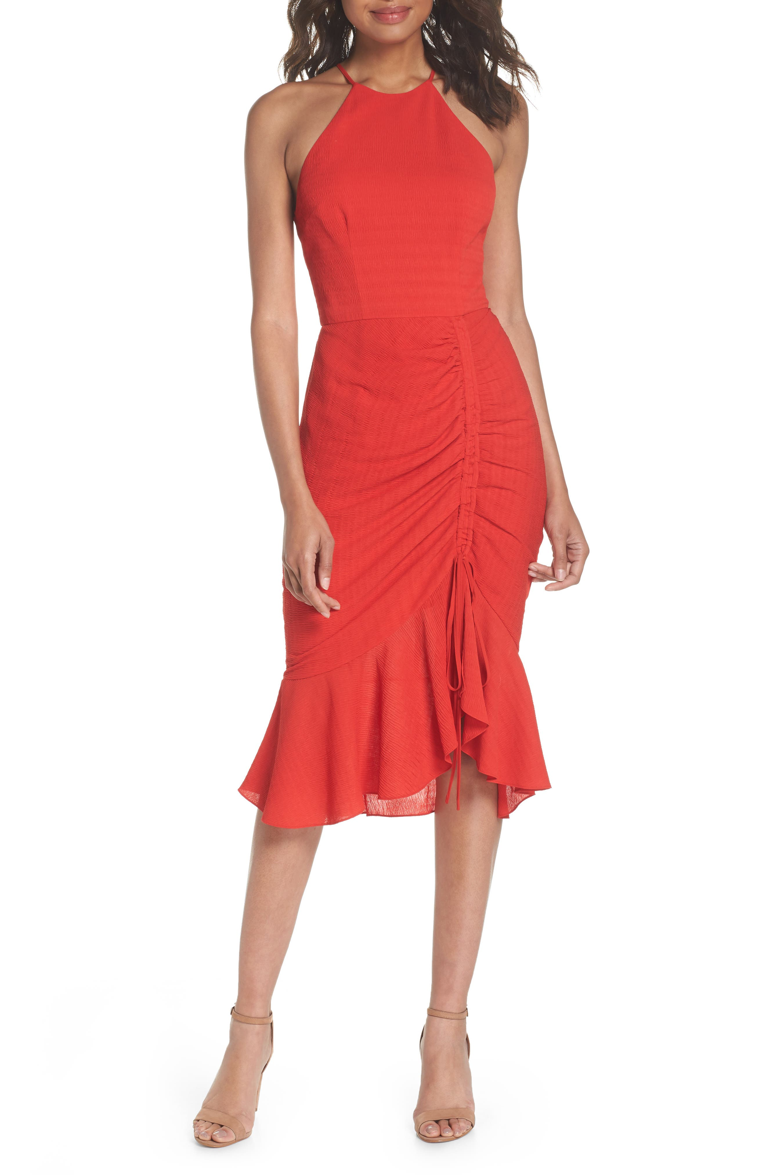 Ti Amo Ruched Halter Dress,                         Main,                         color, 620