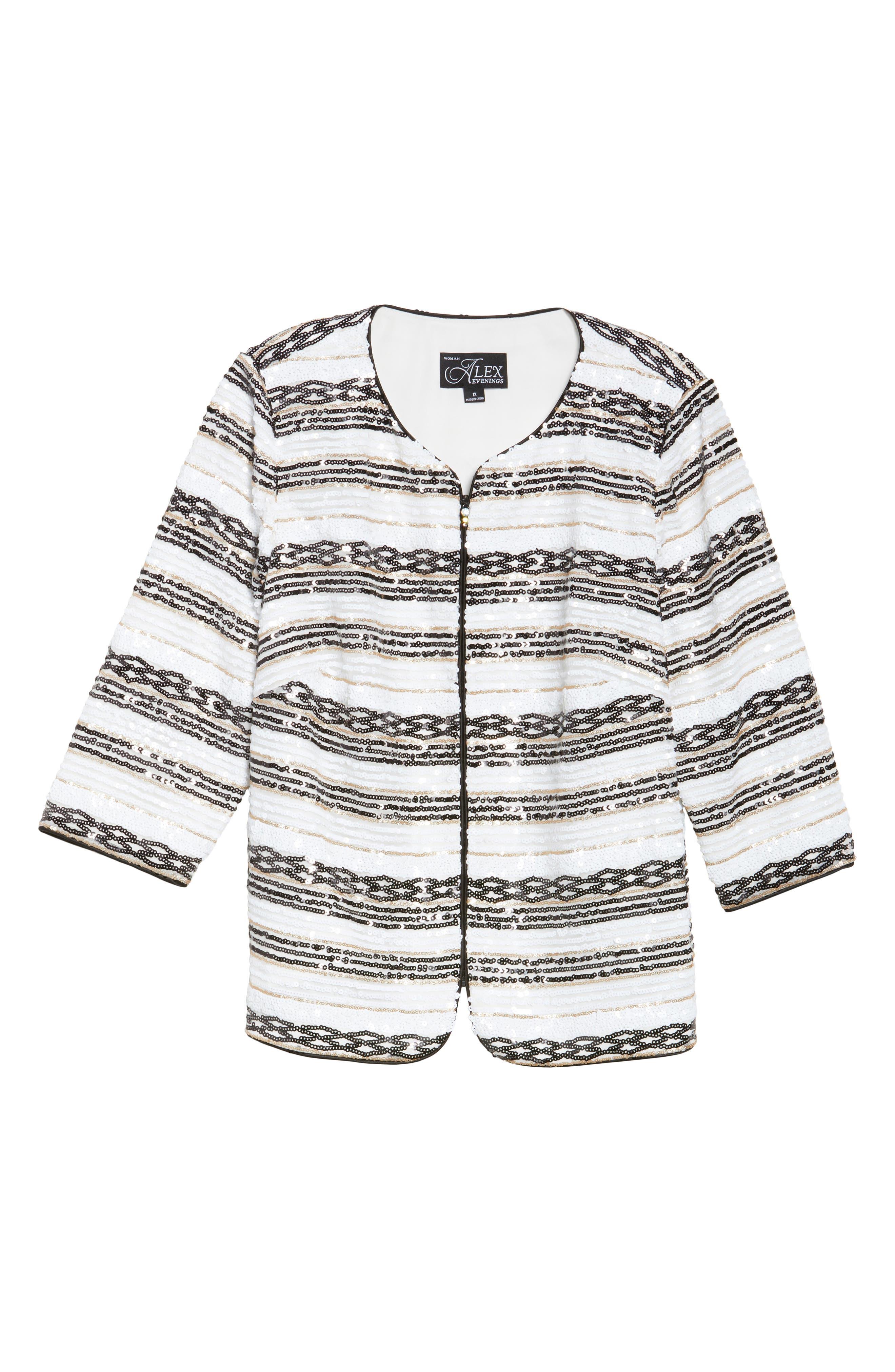 Sequin Stripe Jacket,                             Alternate thumbnail 6, color,                             112