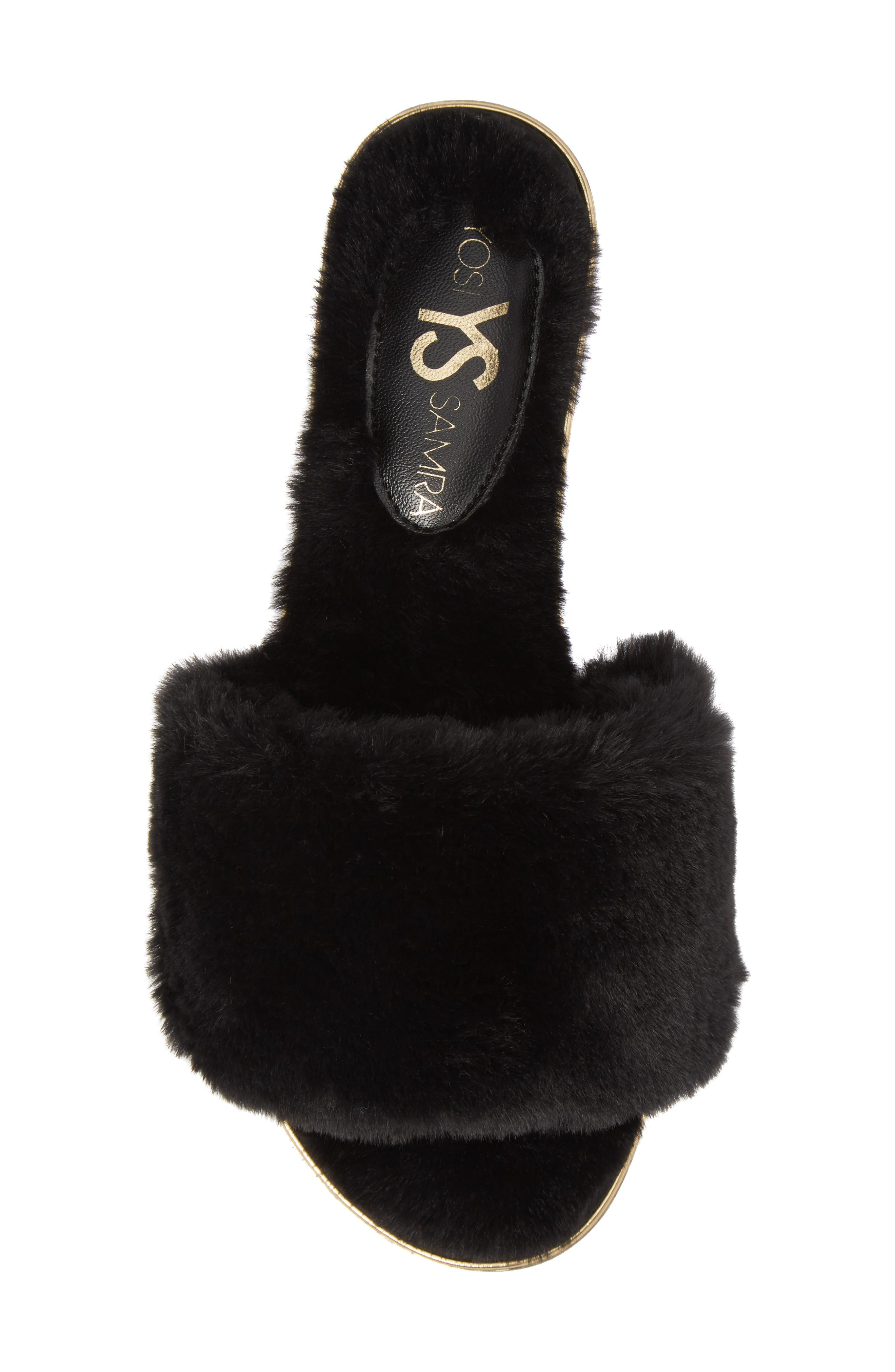 Rose Faux Fur Slide Sandal,                             Alternate thumbnail 5, color,                             BLACK FAUX FUR