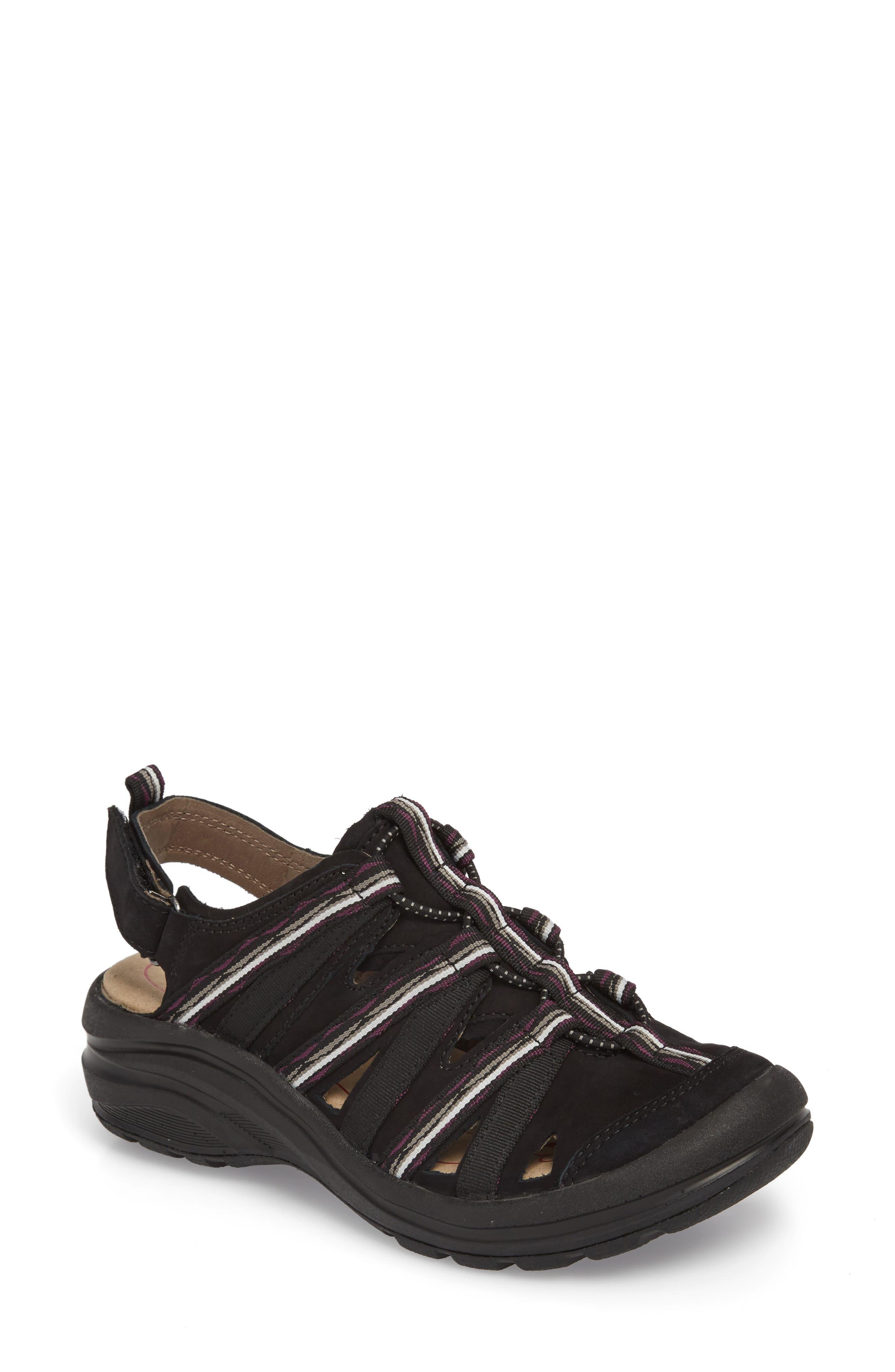 Malabar Sport Sandal,                             Main thumbnail 1, color,                             BLACK LEATHER