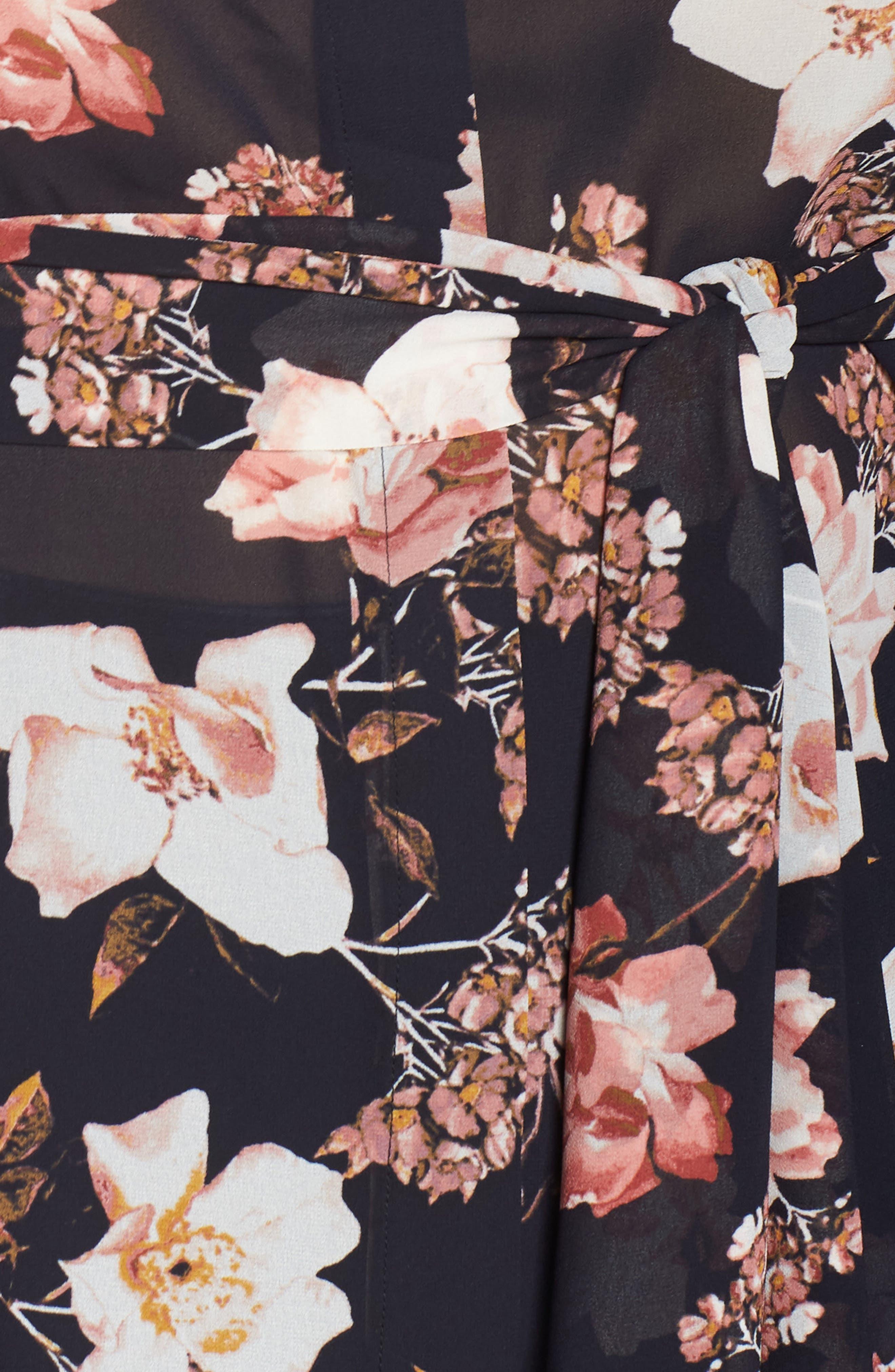 RACHEL ROY COLLECTION,                             Floral Tie Blouse,                             Alternate thumbnail 5, color,                             BLACK COMBO