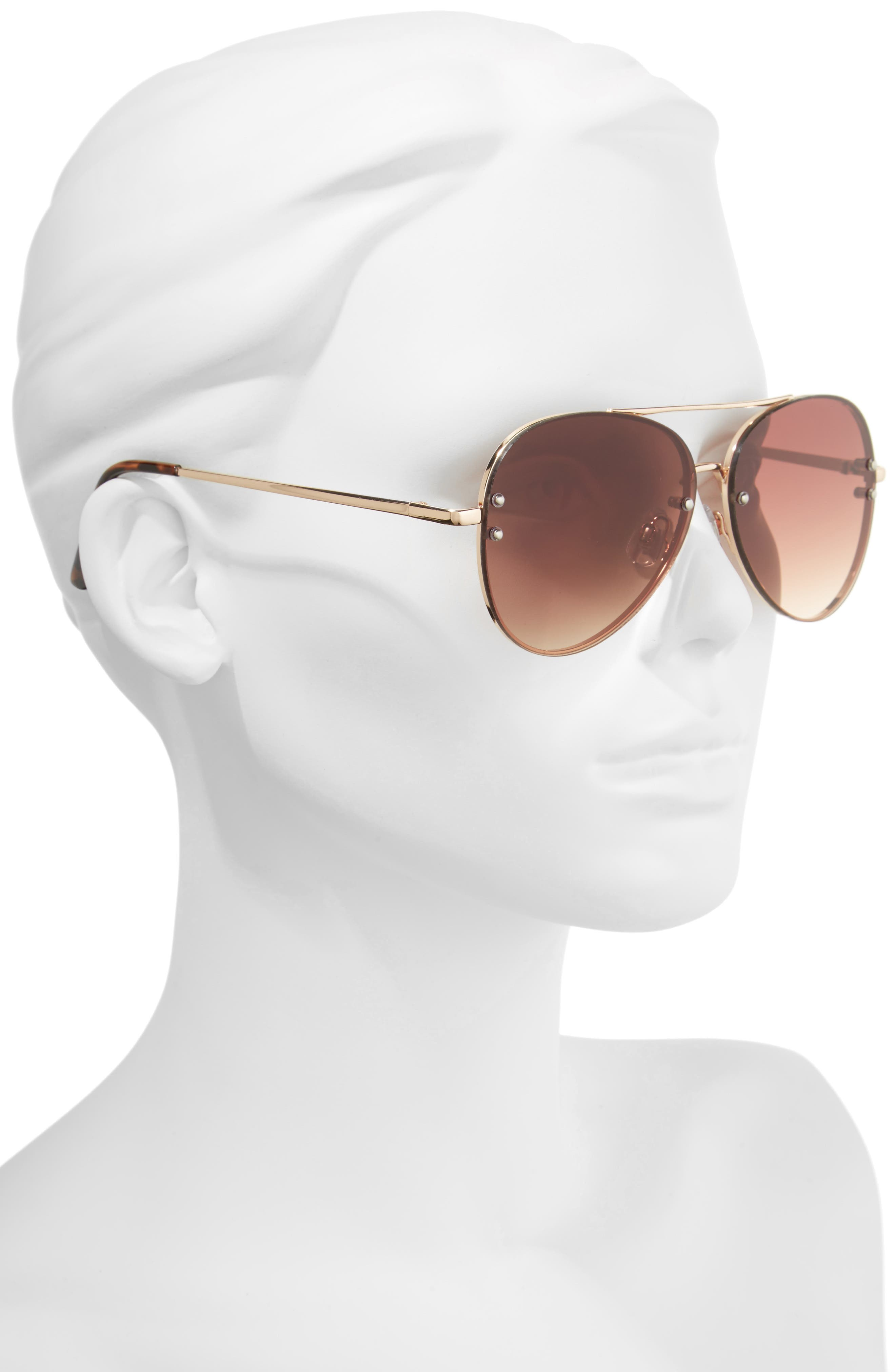 60mm Oversize Mirrored Aviator Sunglasses,                             Alternate thumbnail 2, color,                             GOLD/ BROWN