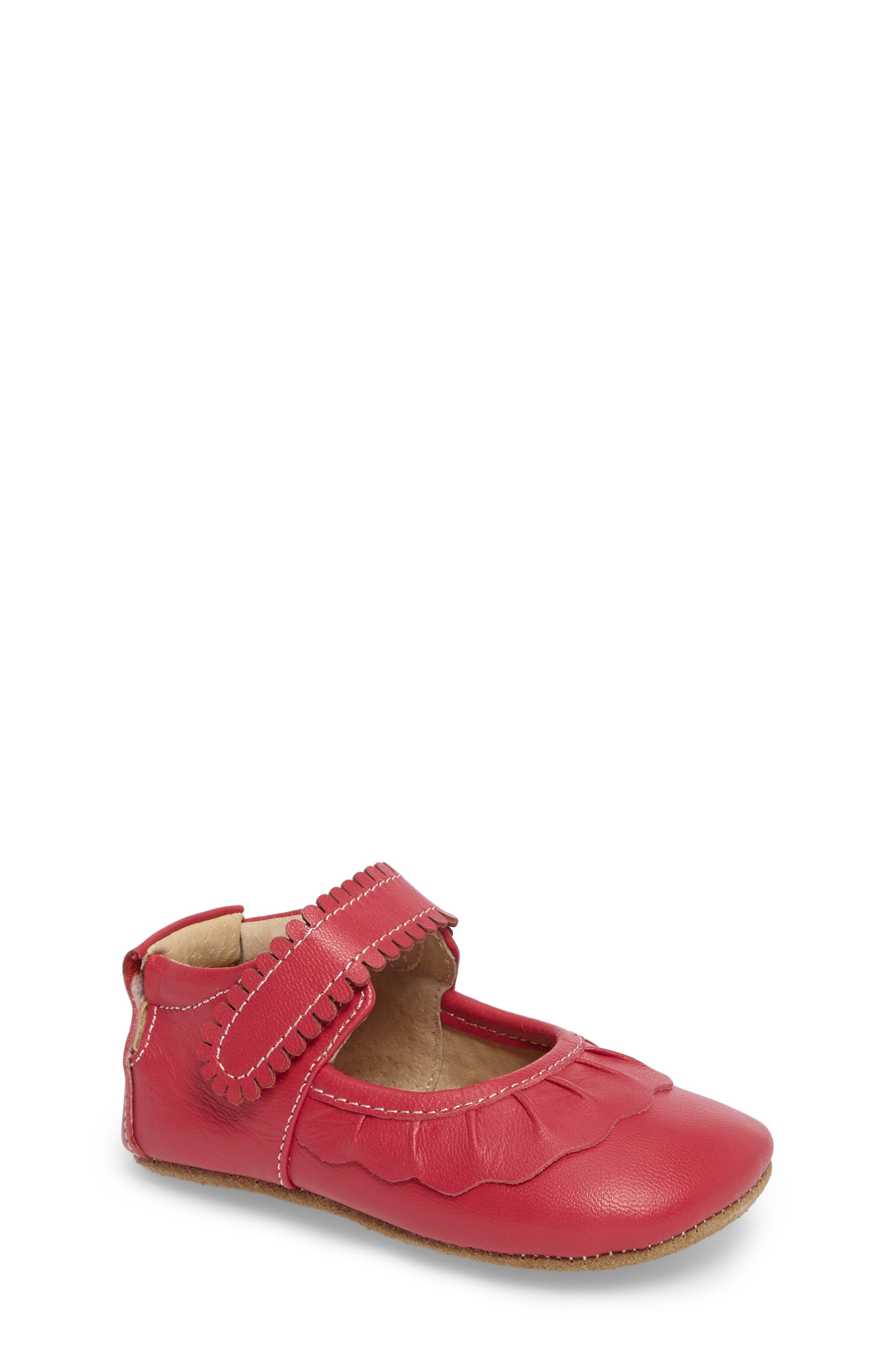 'Ruche' Mary Jane Crib Shoe,                             Main thumbnail 1, color,                             HOT PINK LEATHER