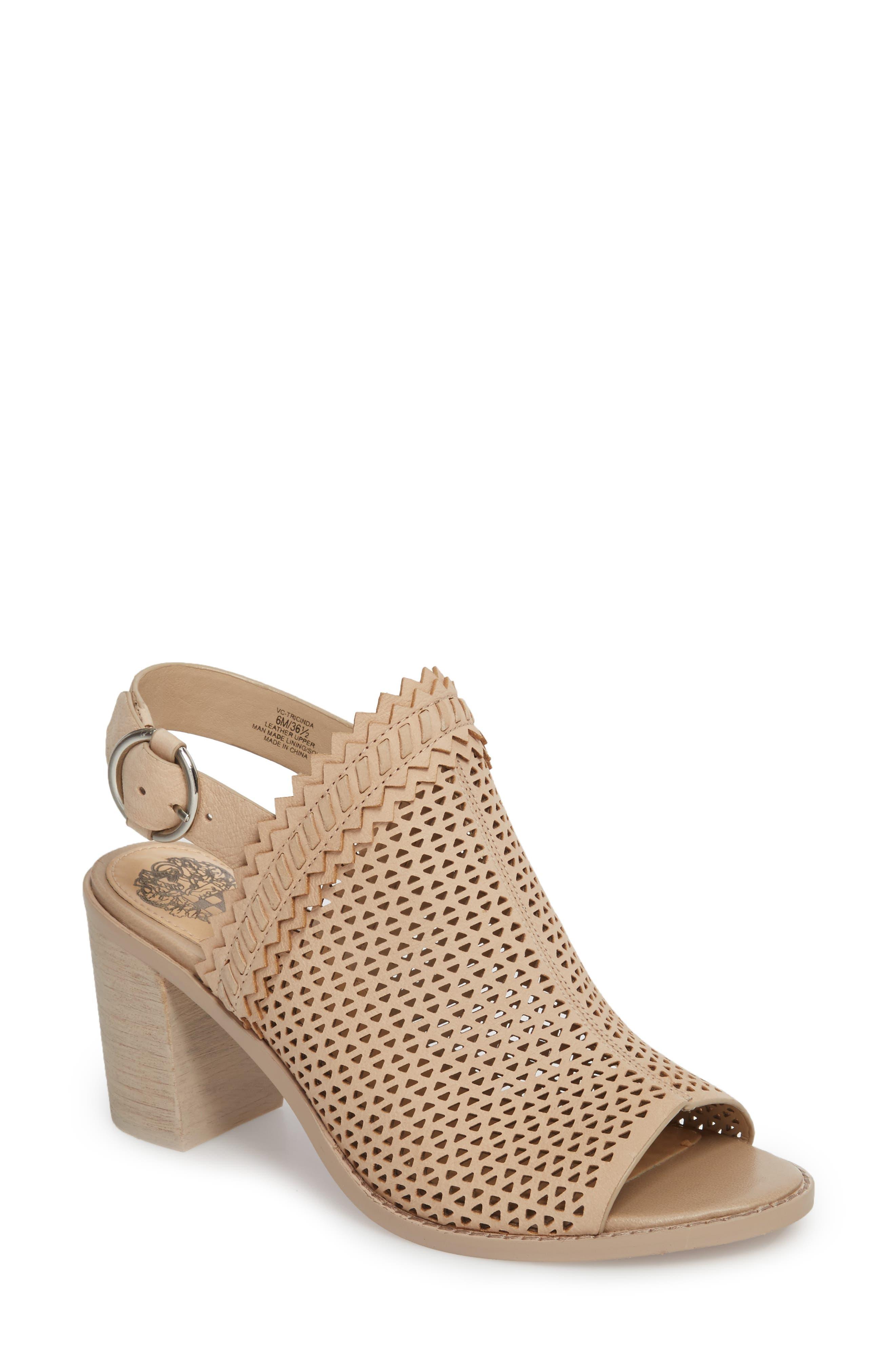 Tricinda Block Heel Sandal,                         Main,                         color, SHELL LEATHER