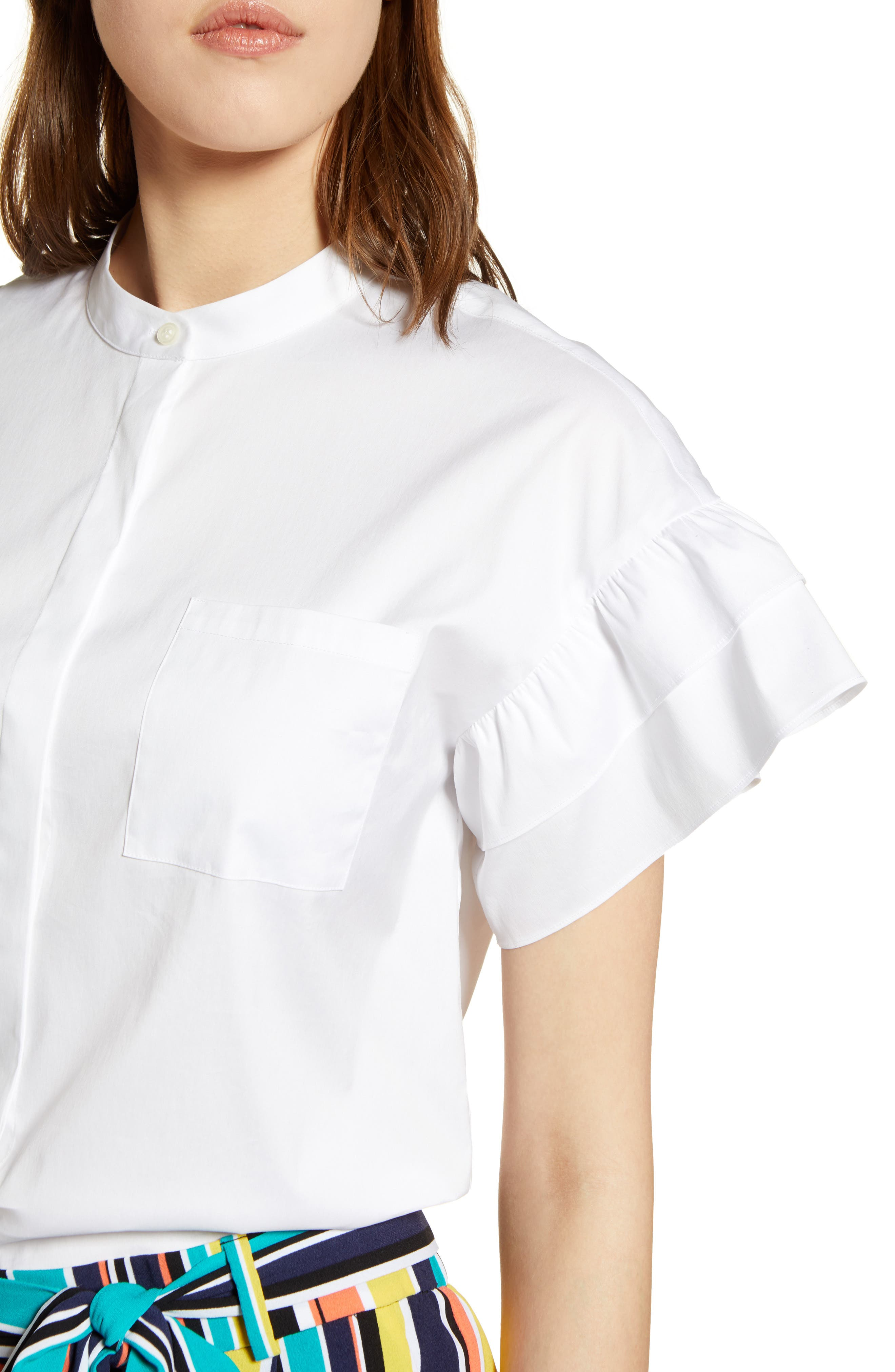 Ruffle Sleeve Stretch Cotton Blend Blouse,                             Alternate thumbnail 15, color,