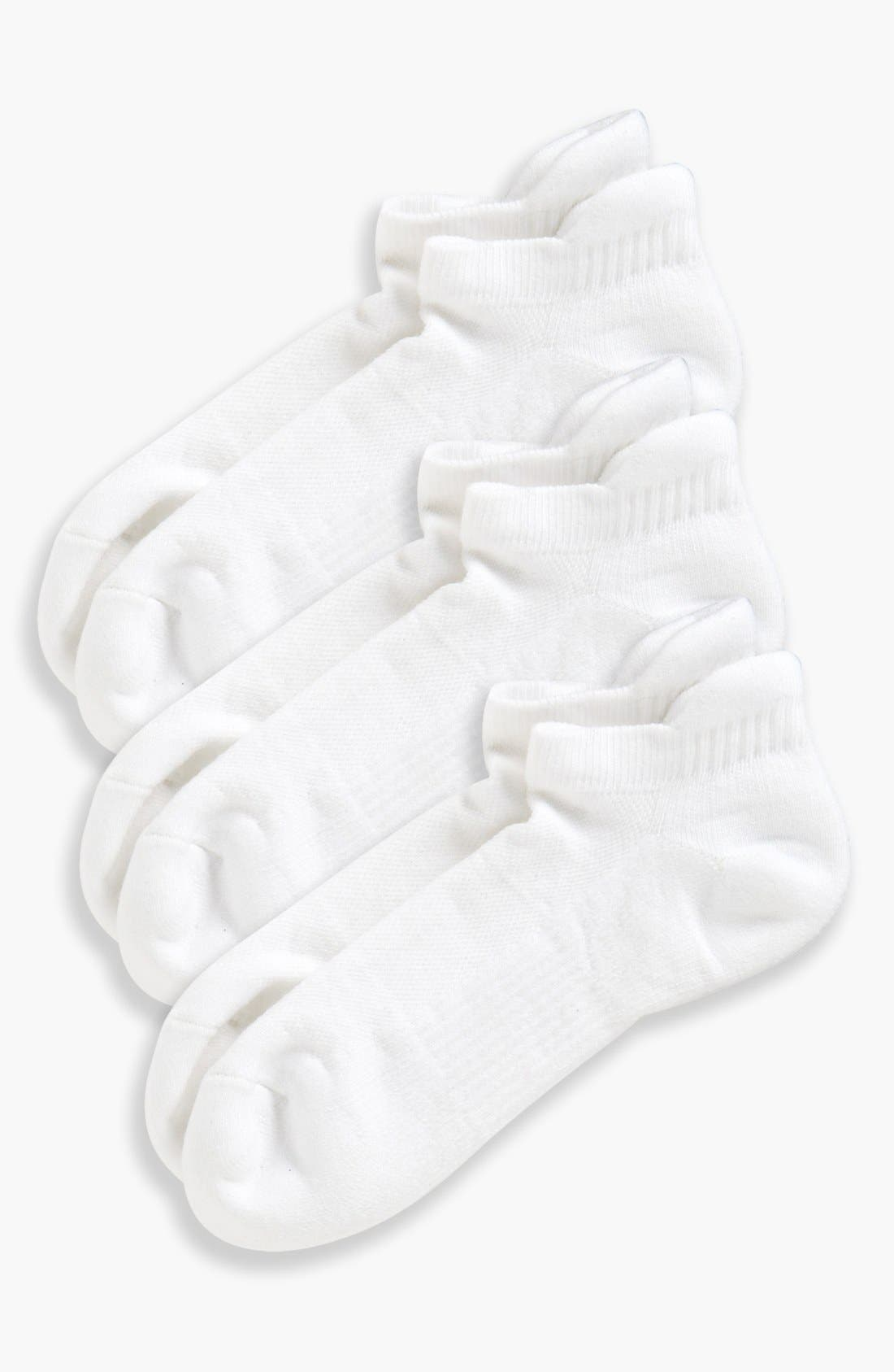 3-Pack Tab Back Socks,                         Main,                         color, WHITE
