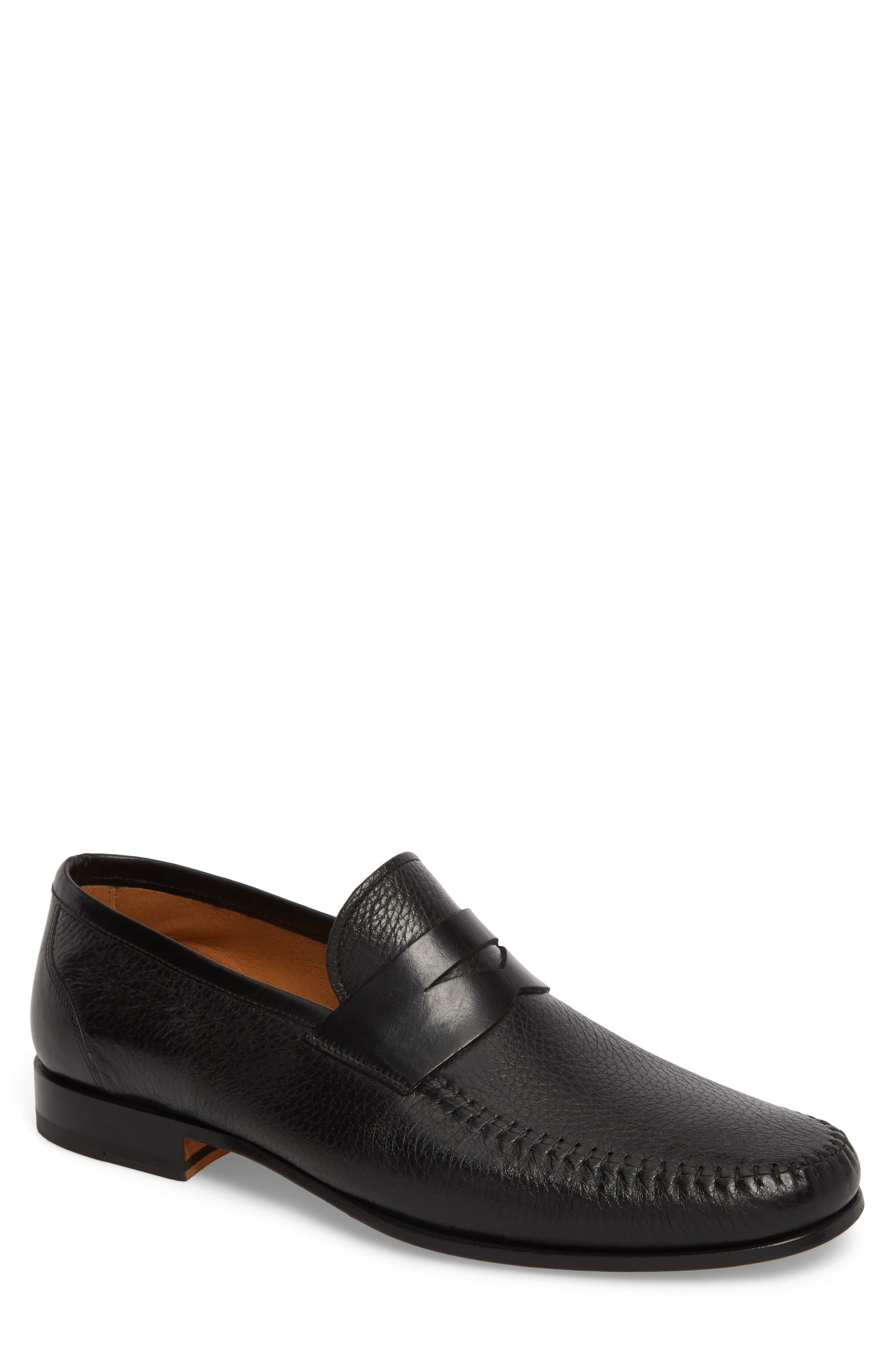 MAGNANNI,                             Ramos Moc Toe Penny Loafer,                             Main thumbnail 1, color,                             BLACK/BLACK LEATHER