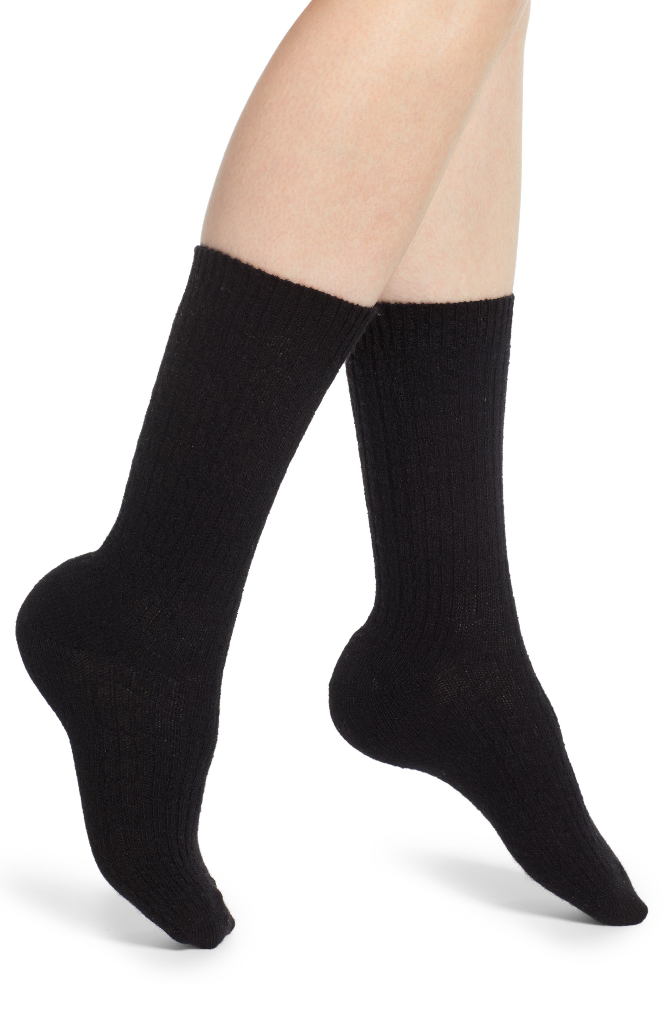 Cable Knit Cashmere Blend Crew Socks, Main, color, BLACK