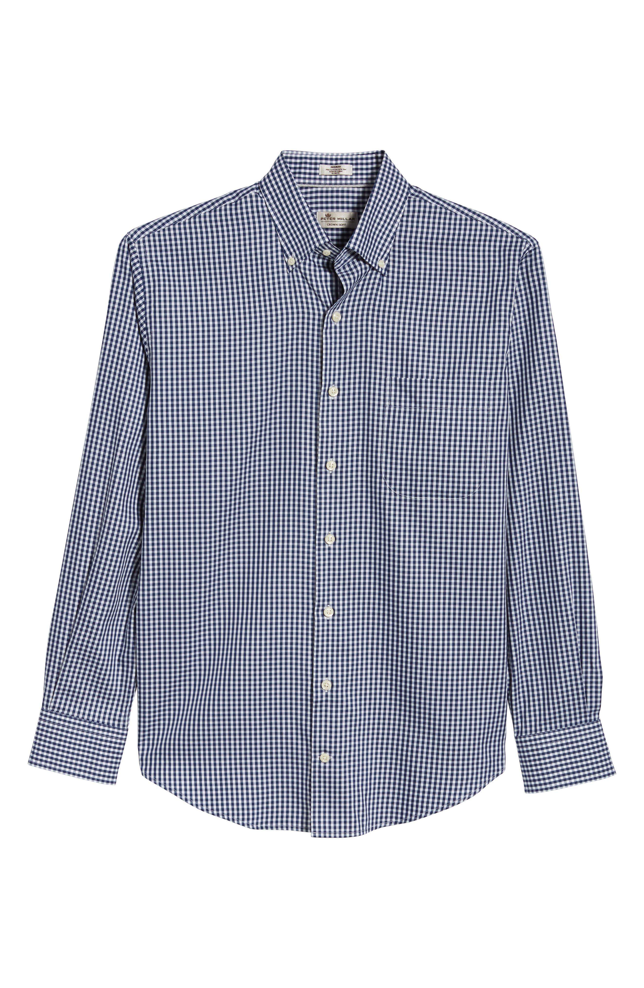 Crown Soft Gingham Sport Shirt,                             Alternate thumbnail 6, color,                             YANKEE BLUE