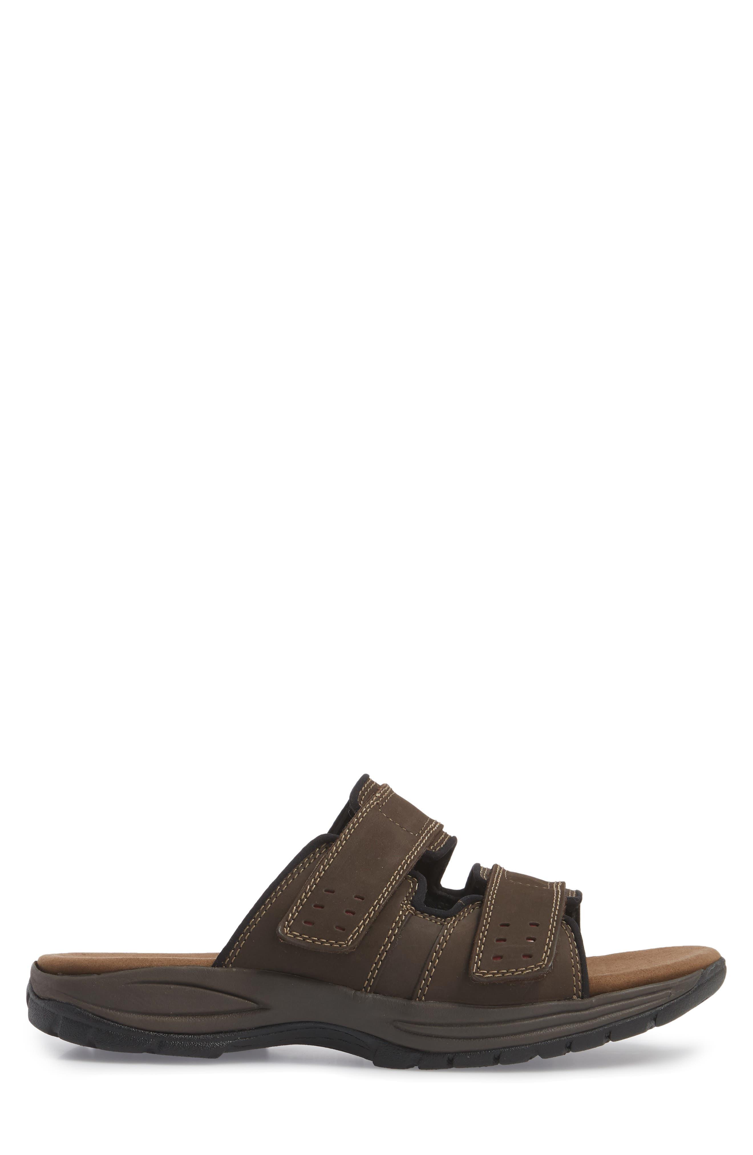Newport Slide Sandal,                             Alternate thumbnail 3, color,                             DARK BROWN LEATHER