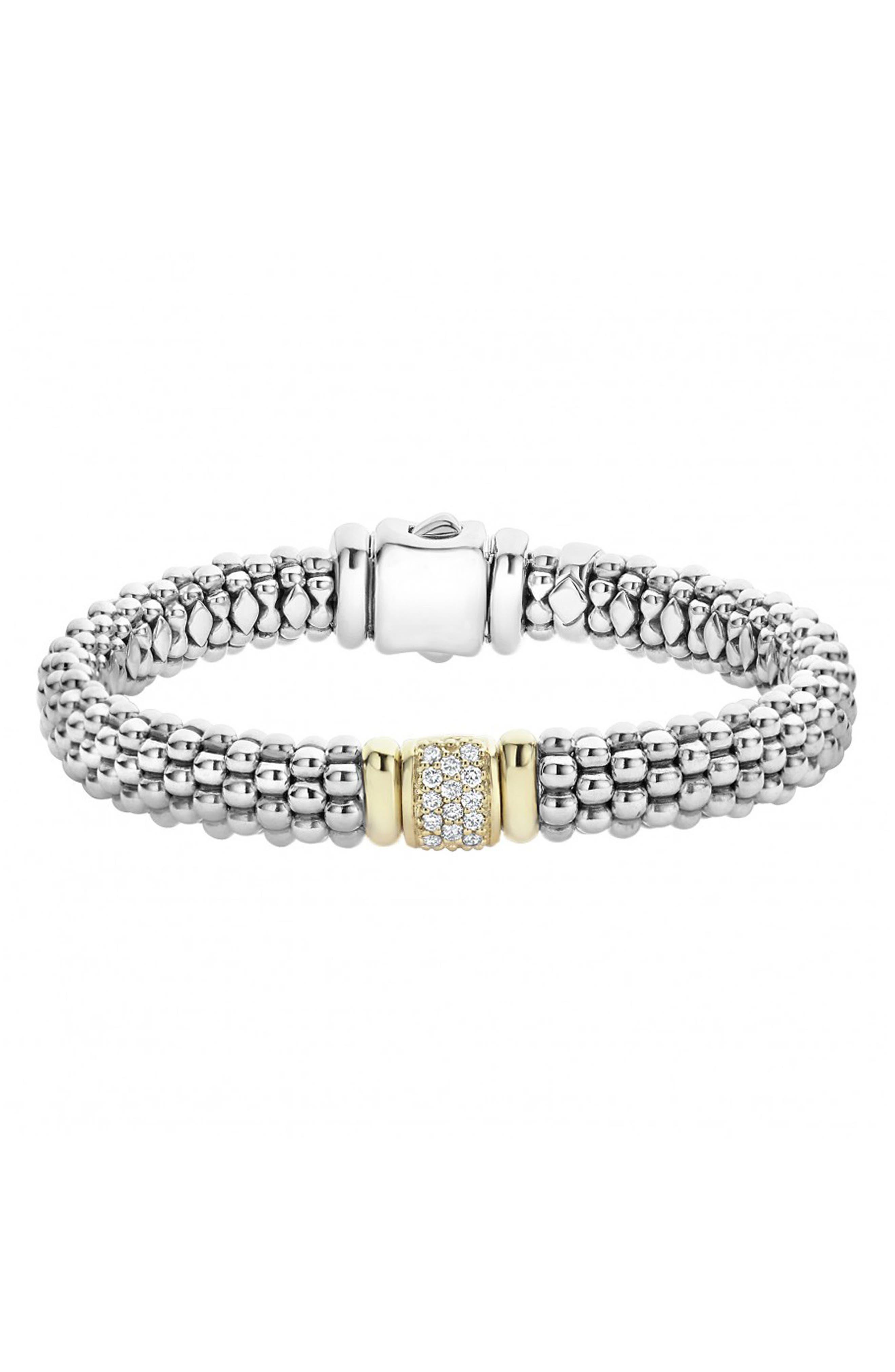 Caviar & Diamond Bracelet,                             Main thumbnail 1, color,                             STERLING SILVER/ GOLD