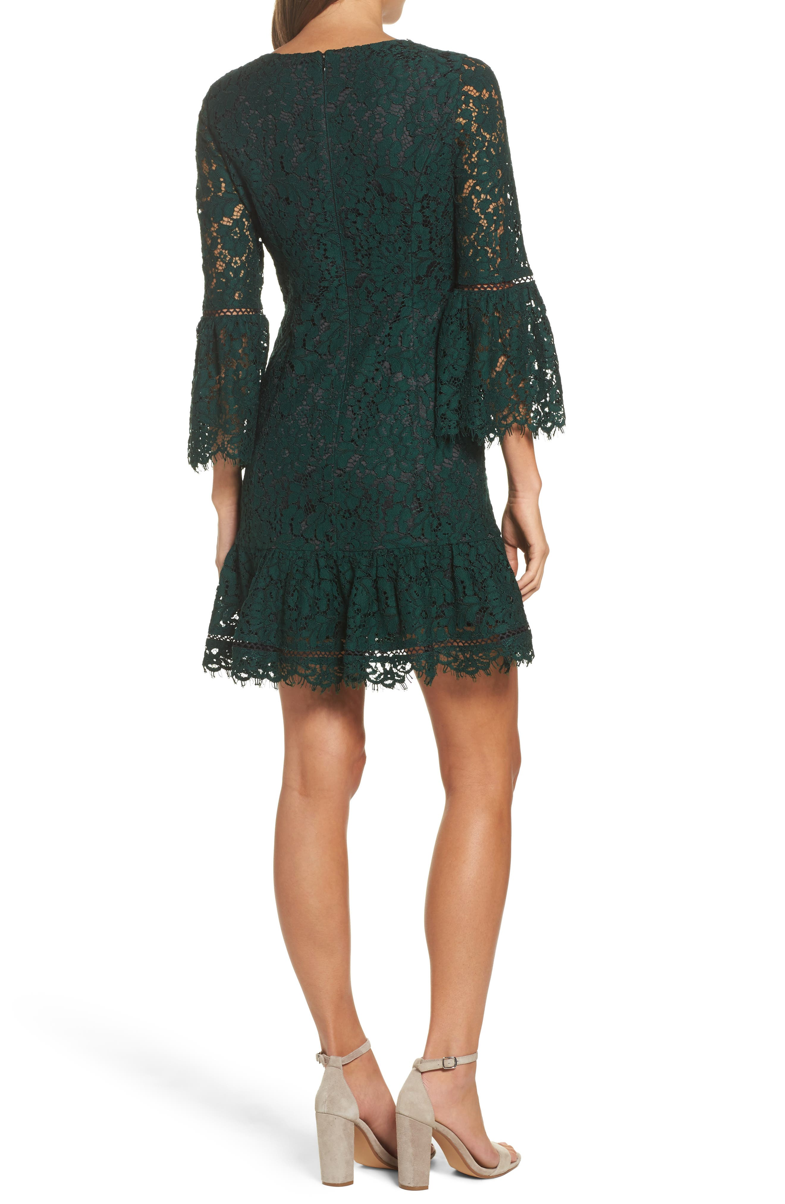 ELIZA J,                             Bell Sleeve Lace Cocktail Dress,                             Alternate thumbnail 2, color,                             GREEN/ BLACK
