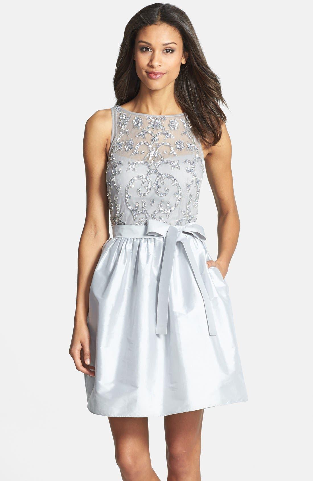 Embellished Bodice Taffeta Fit & Flare Dress,                             Main thumbnail 1, color,                             040
