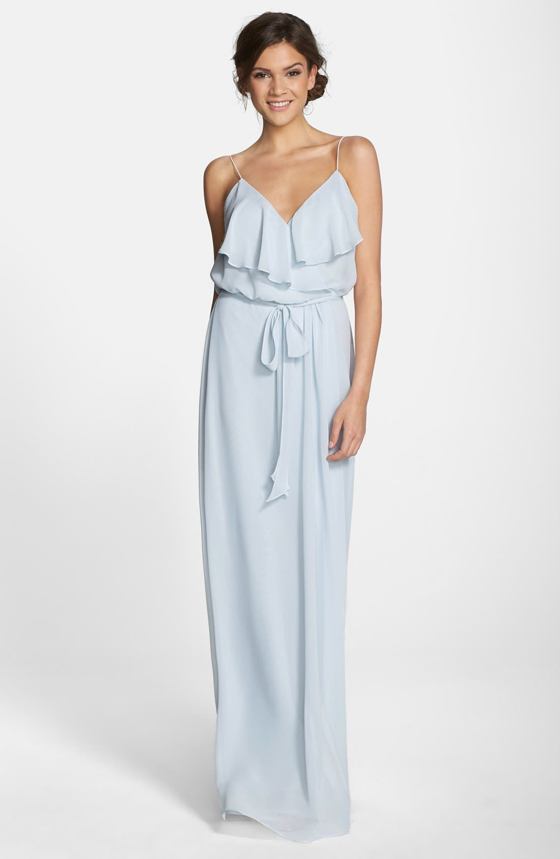 'Drew' Ruffle Front Chiffon Gown,                             Main thumbnail 1, color,
