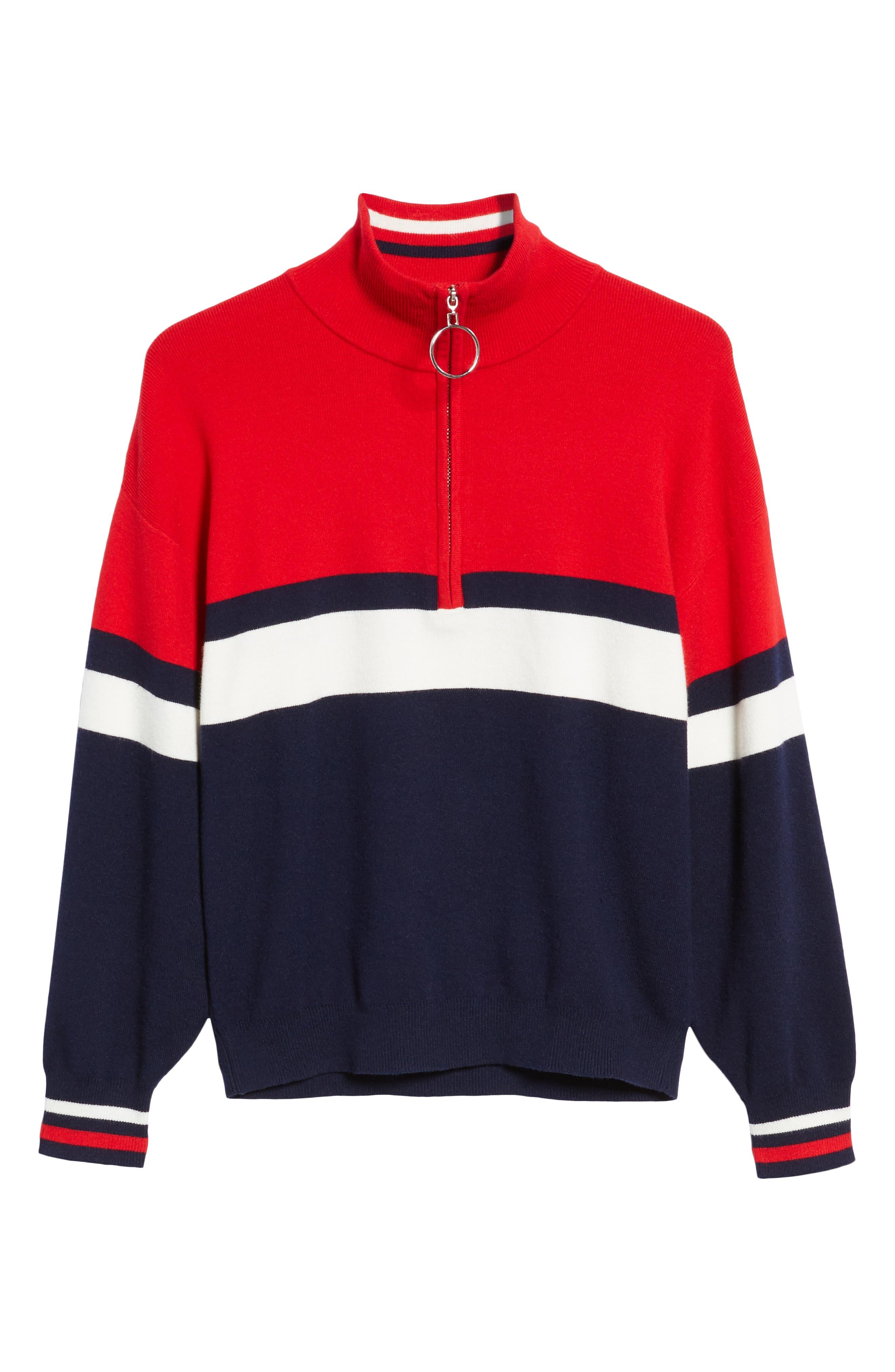 Stripe Half Zip Pullover,                             Alternate thumbnail 6, color,                             NAVY