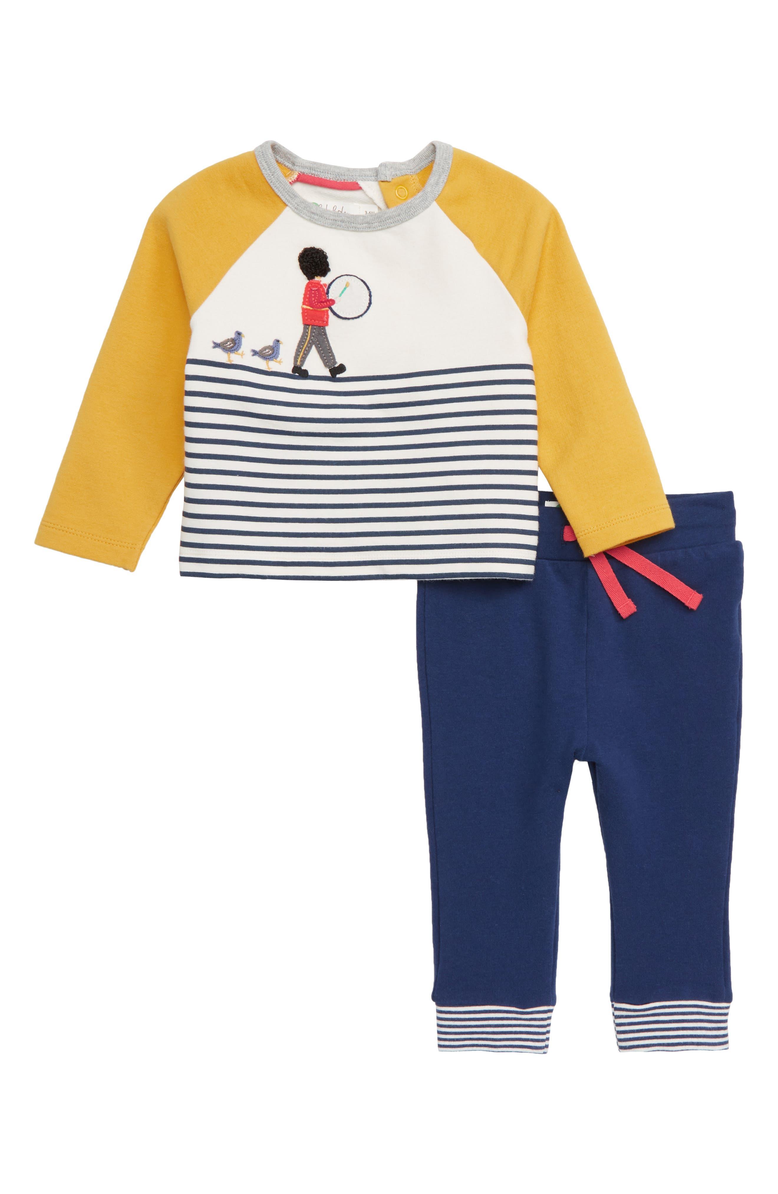 Fun Jersey Appliqué T-Shirt & Pants Set, Main, color, MBL ECRU/ COLLEGE BLUE SOLDIER