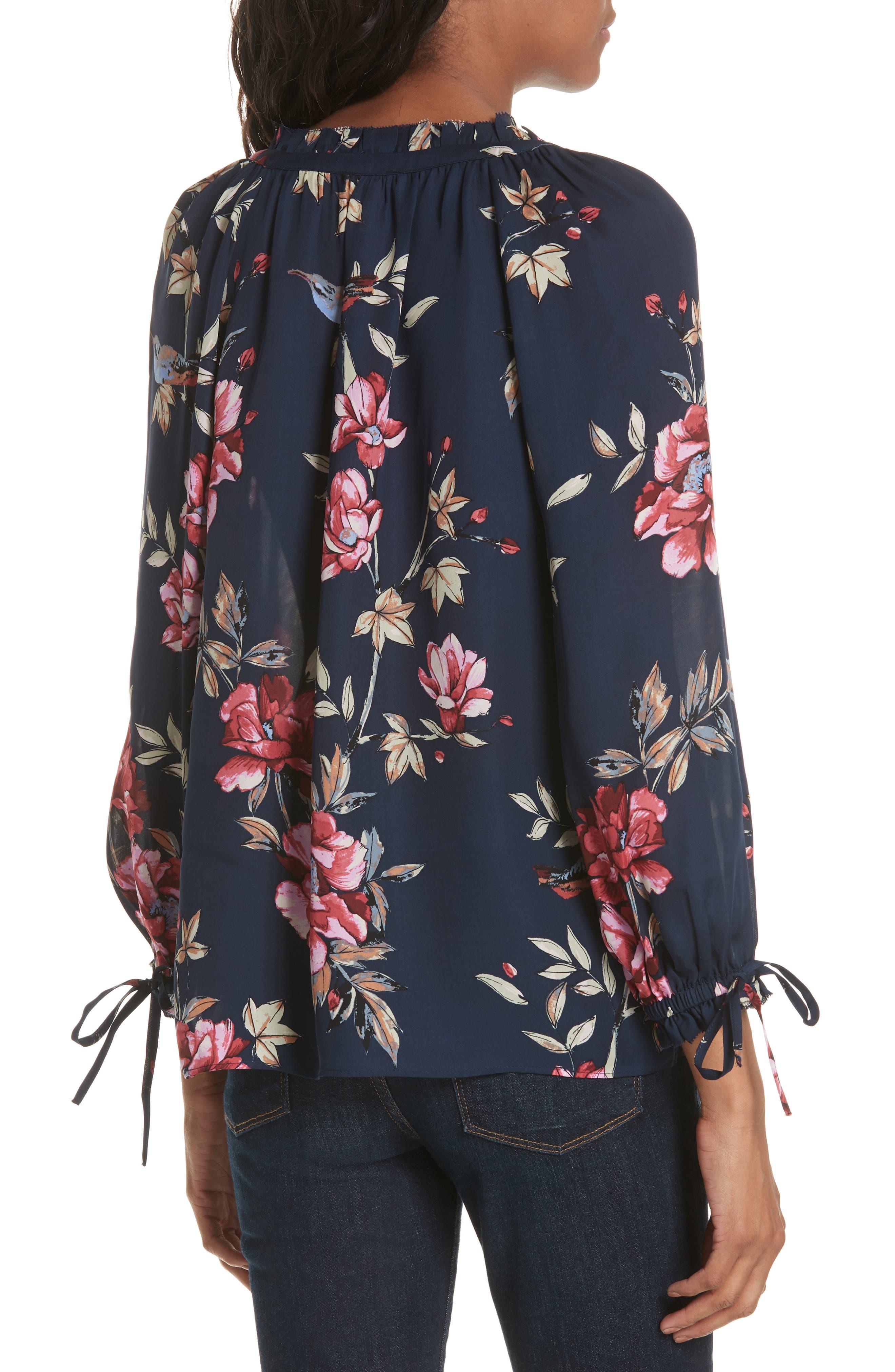 Corsen Floral Silk Blouse,                             Alternate thumbnail 2, color,                             410