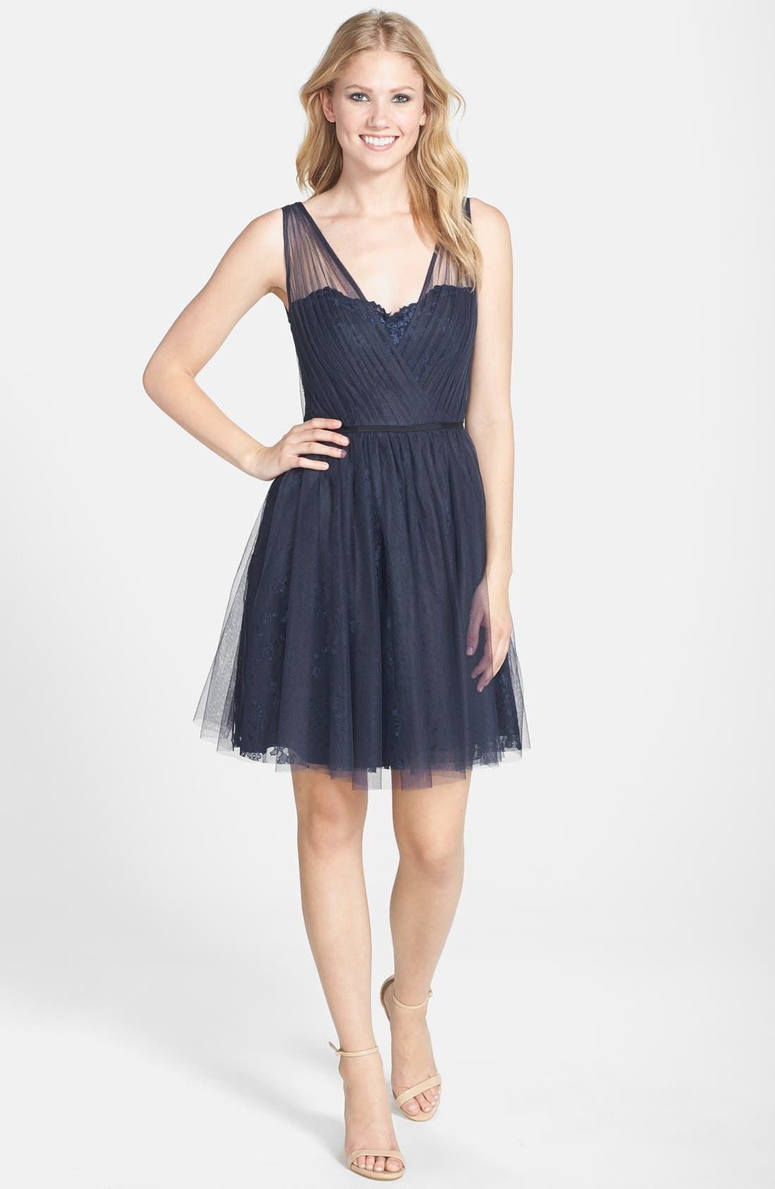 Tulle Overlay Lace Fit & Flare Dress,                             Alternate thumbnail 4, color,                             NAVY