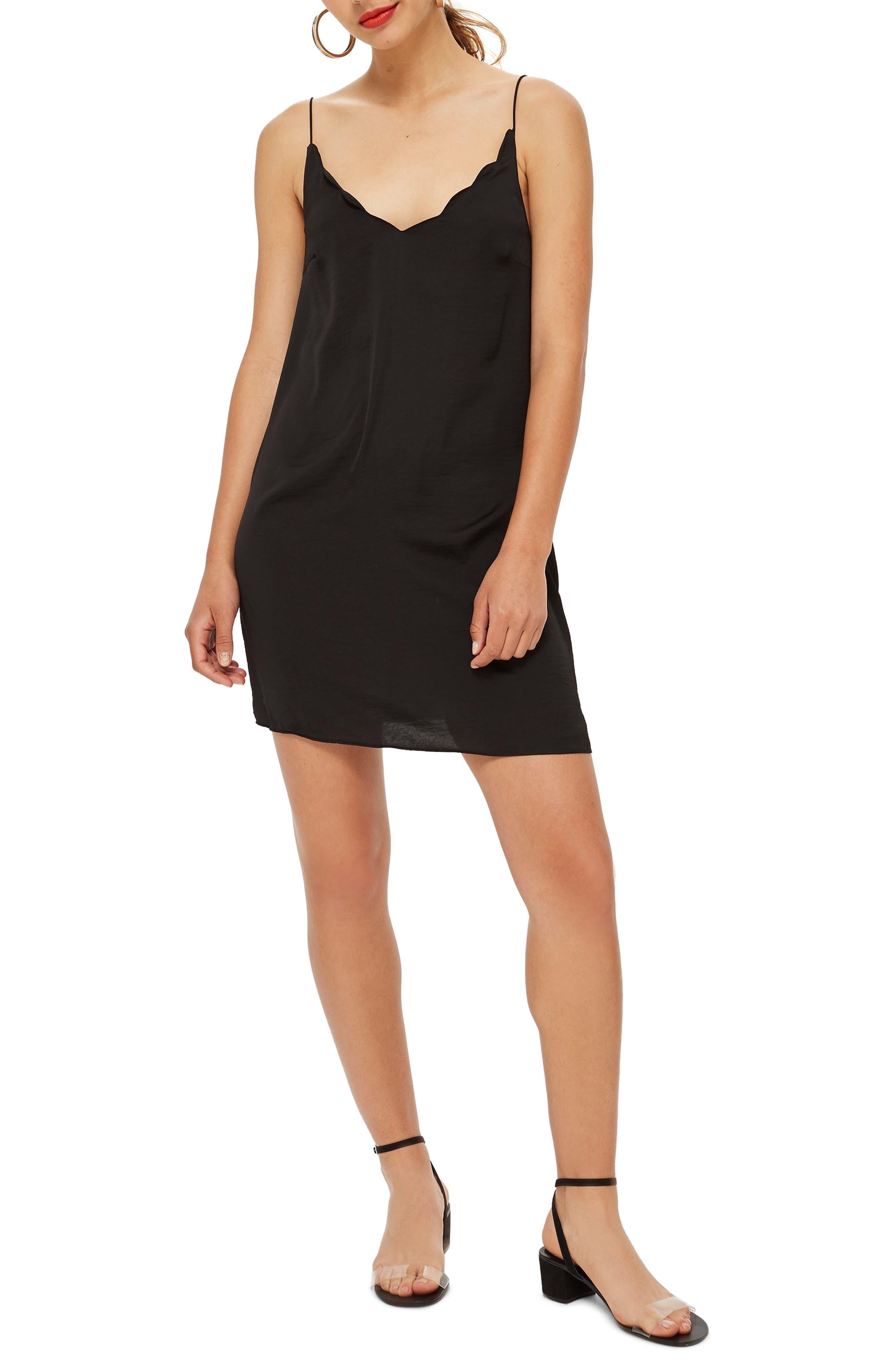Scallop Mini Slipdress,                         Main,                         color, BLACK
