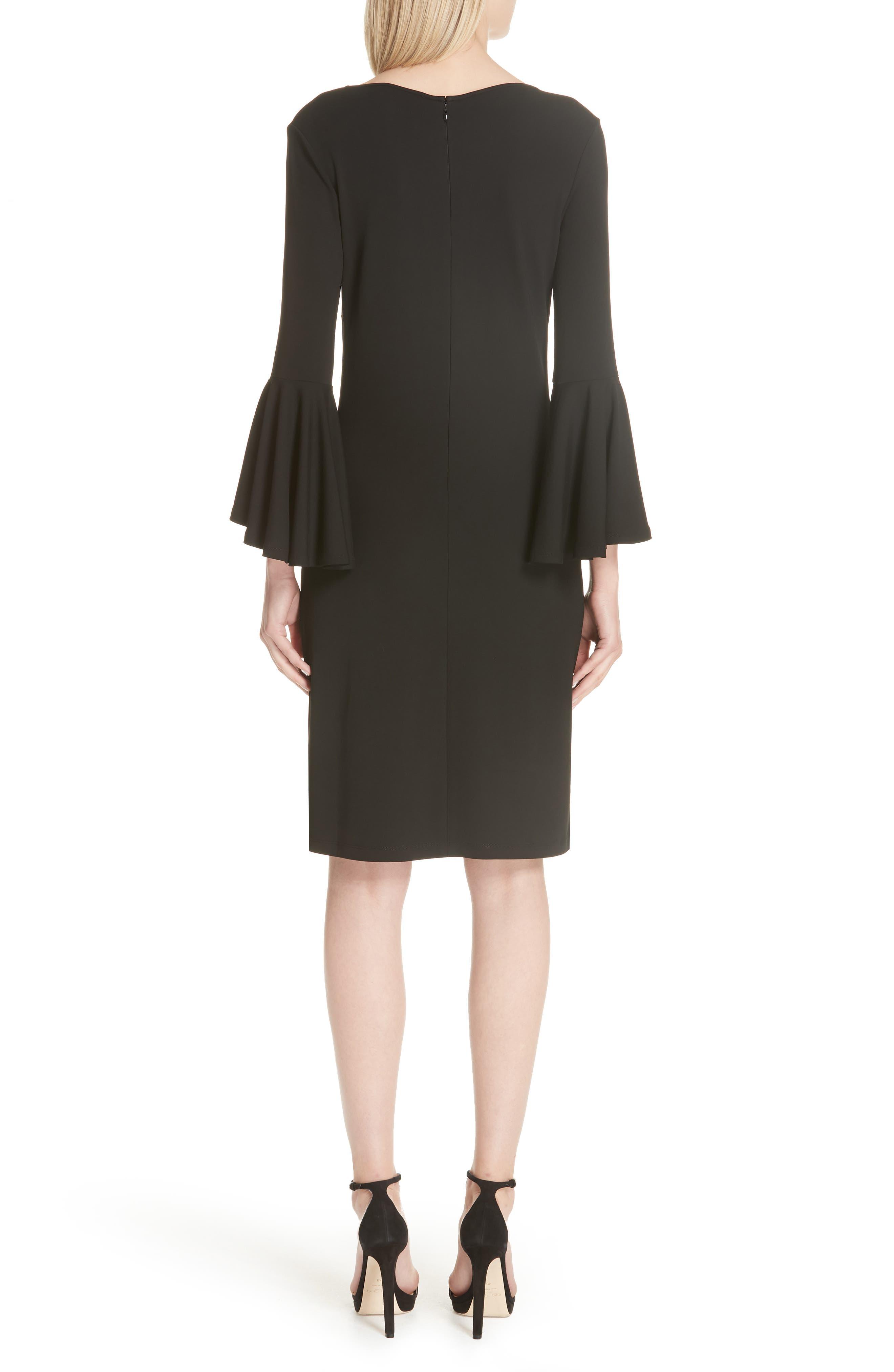 Cascade Sleeve Sheath Dress,                             Alternate thumbnail 2, color,                             001