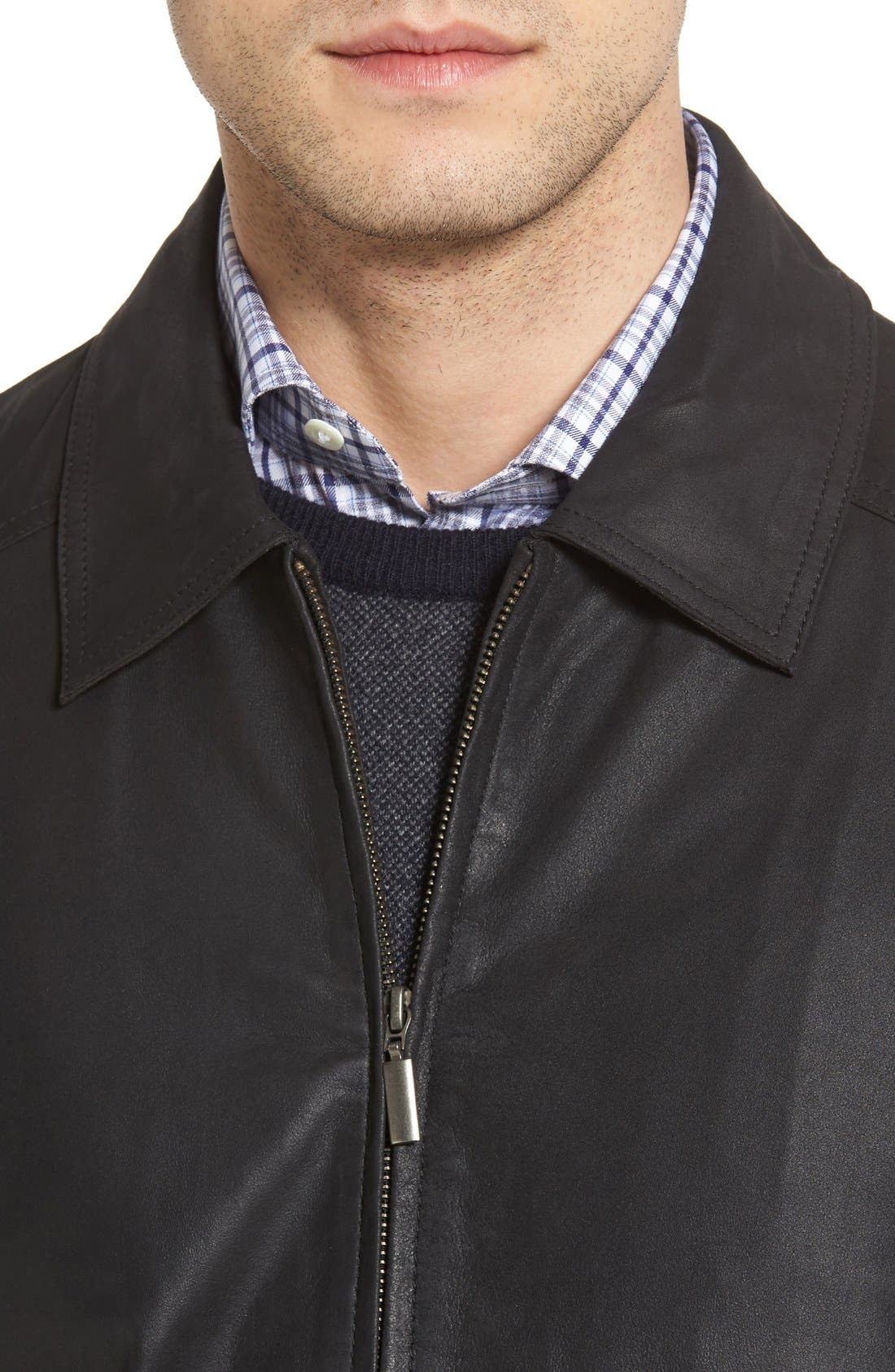 MissaniLe CollezioniLambskin Leather Jacket,                             Alternate thumbnail 3, color,                             BLACK