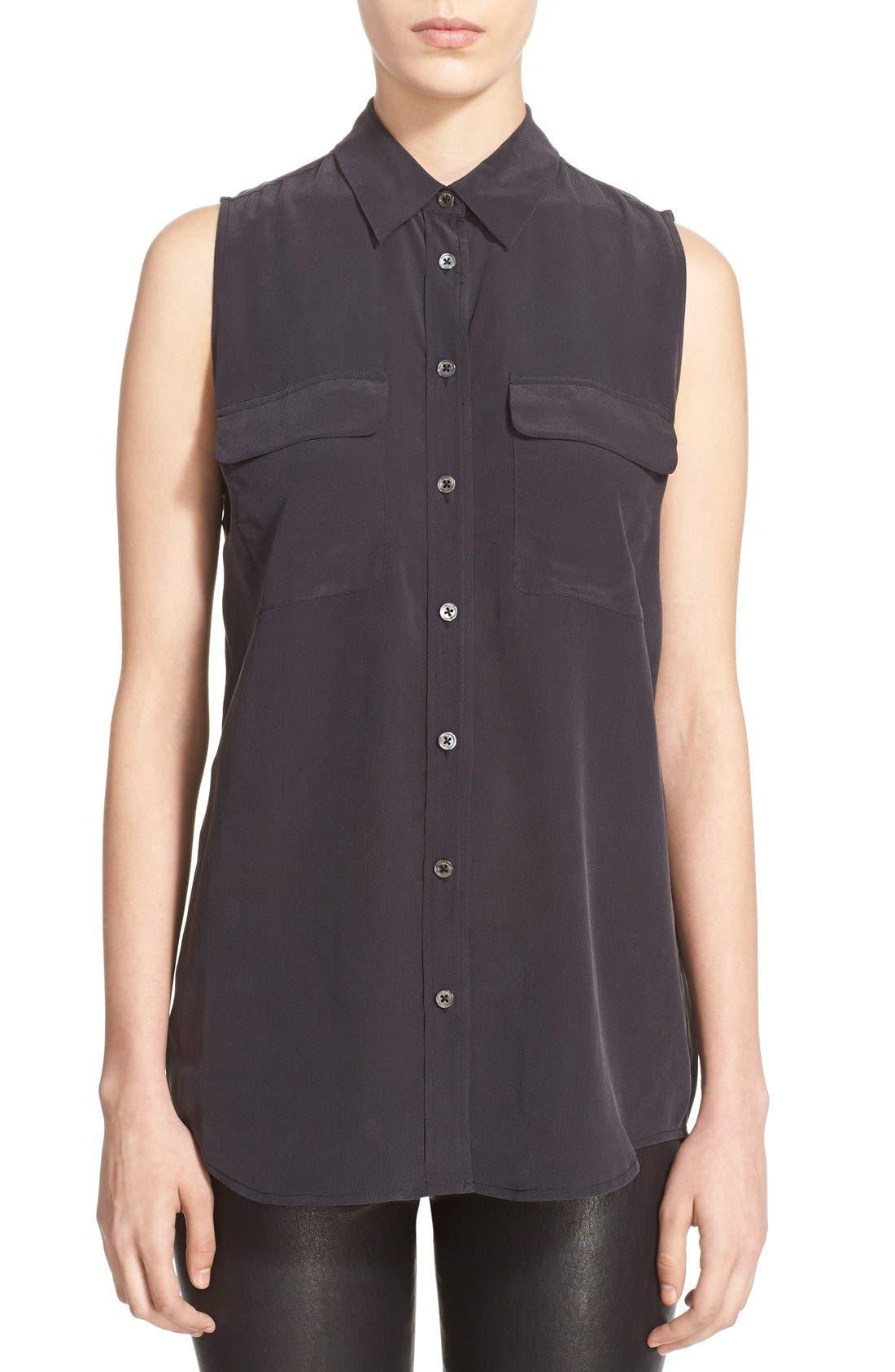 'Slim Signature' Sleeveless Silk Shirt,                             Main thumbnail 6, color,