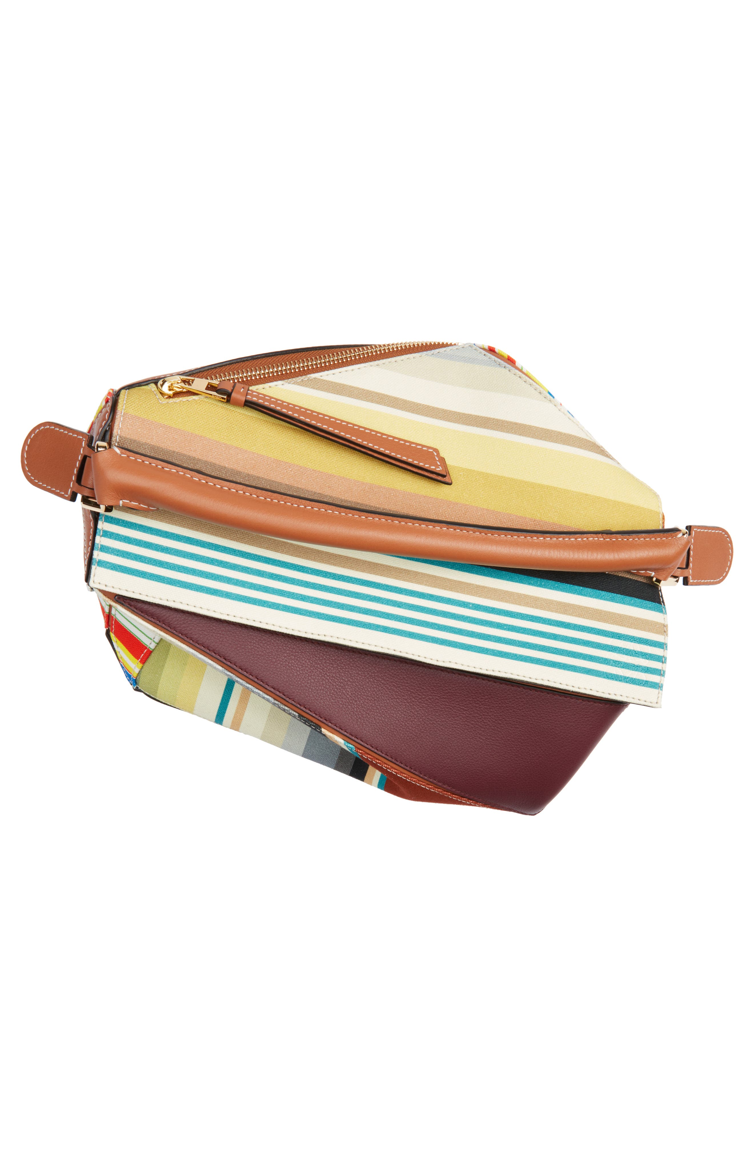 Medium Puzzle Stripe Canvas & Leather Shoulder Bag,                             Alternate thumbnail 3, color,