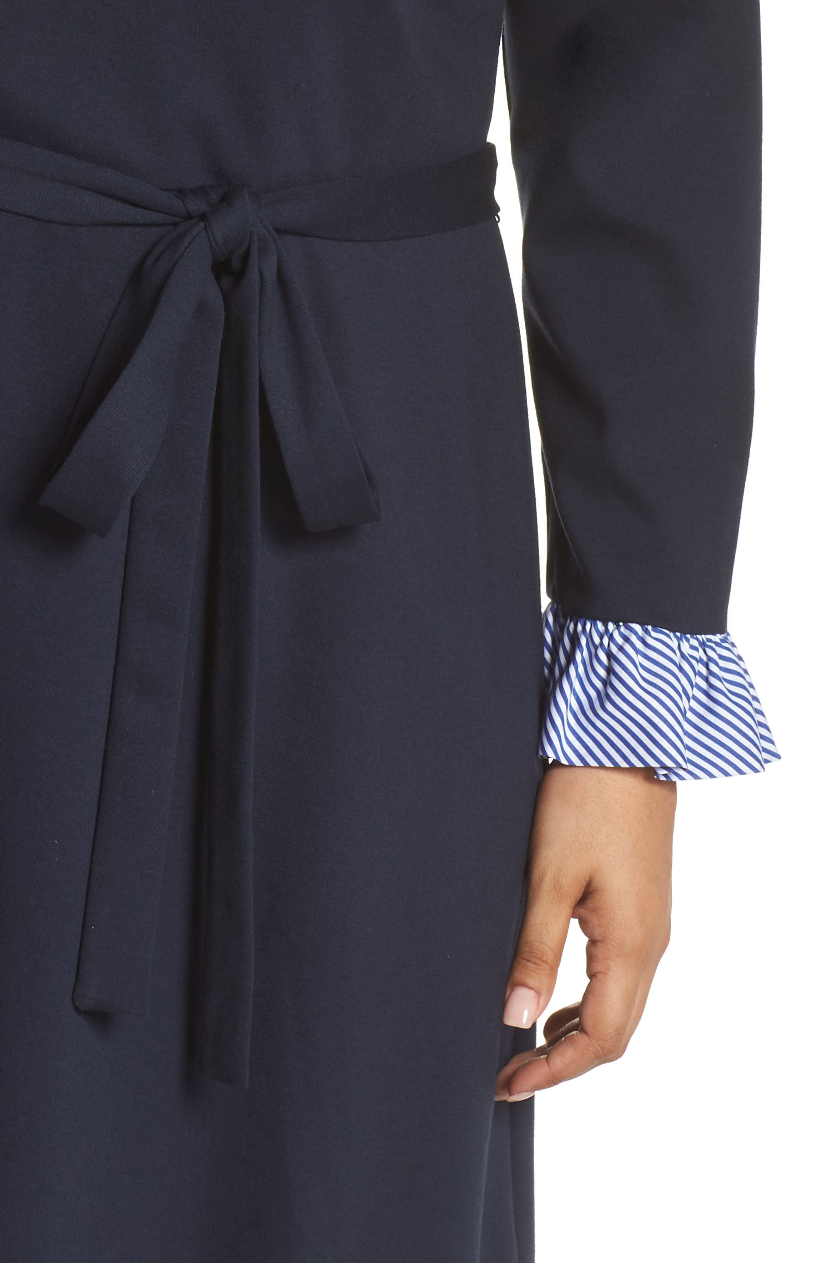 Long Sleeve Ruffle Detail Shirtdress,                             Alternate thumbnail 11, color,                             NAVY