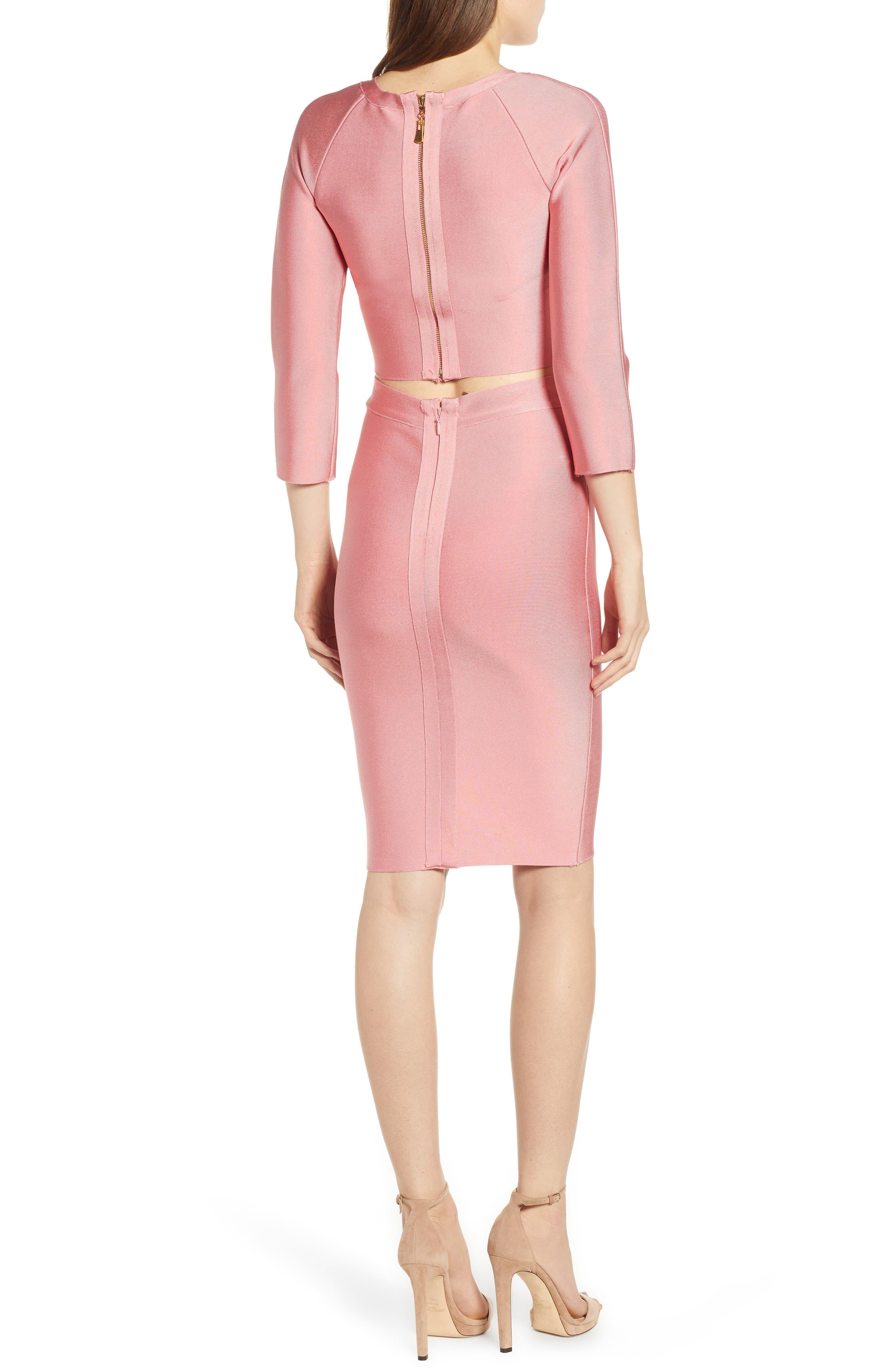 Two-Piece Body-Con Dress,                             Alternate thumbnail 2, color,                             SALMON