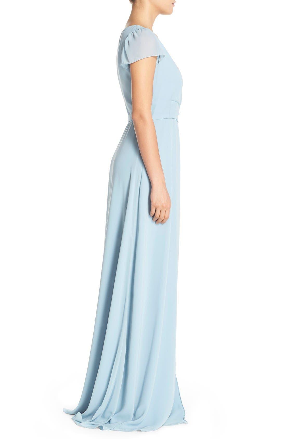 Aurele Cap Sleeve Chiffon Wrap Gown,                             Alternate thumbnail 6, color,