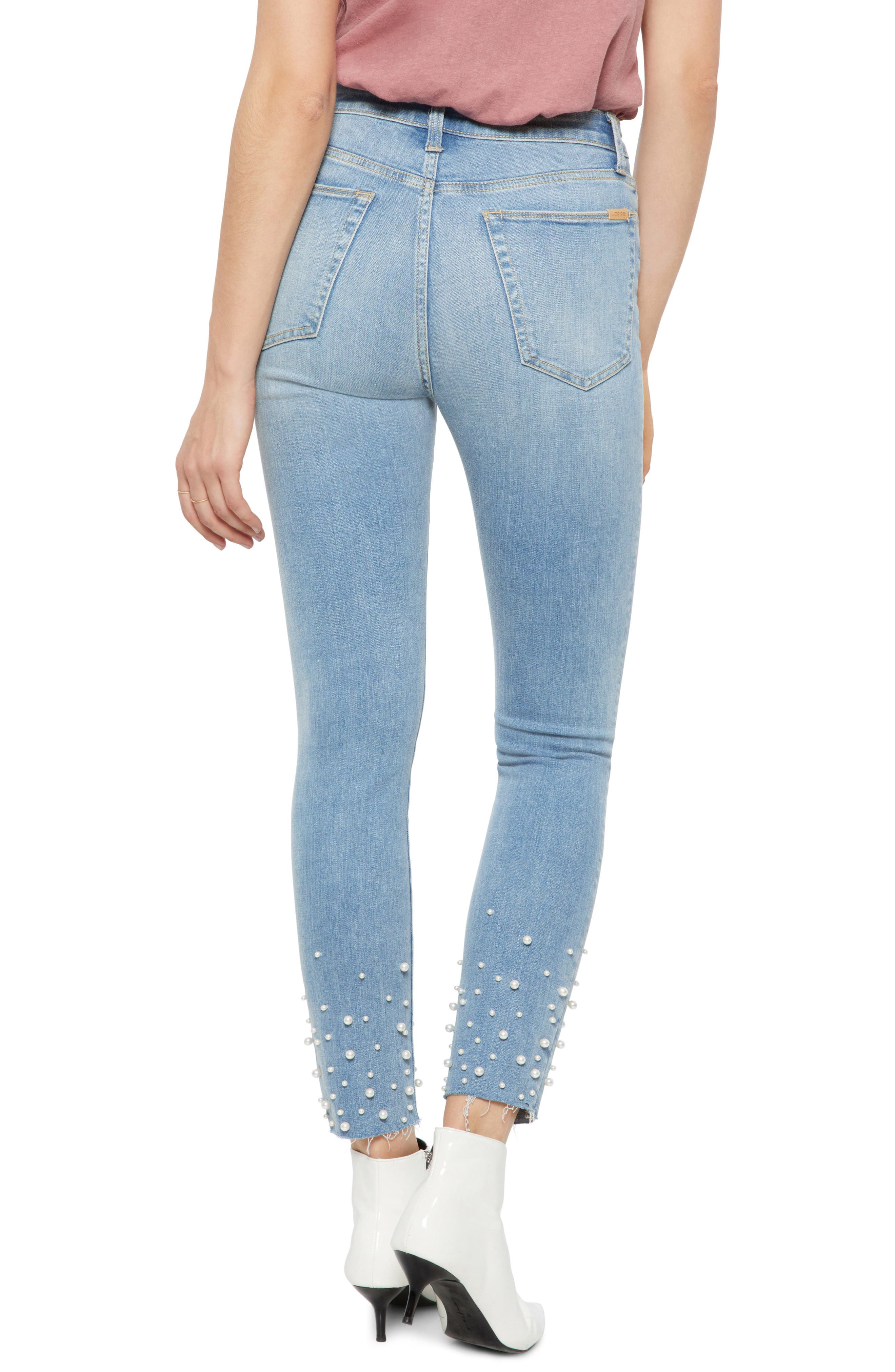Flawless - Charlie Pearl Hem Ankle Skinny Jeans,                             Alternate thumbnail 2, color,                             SISELY