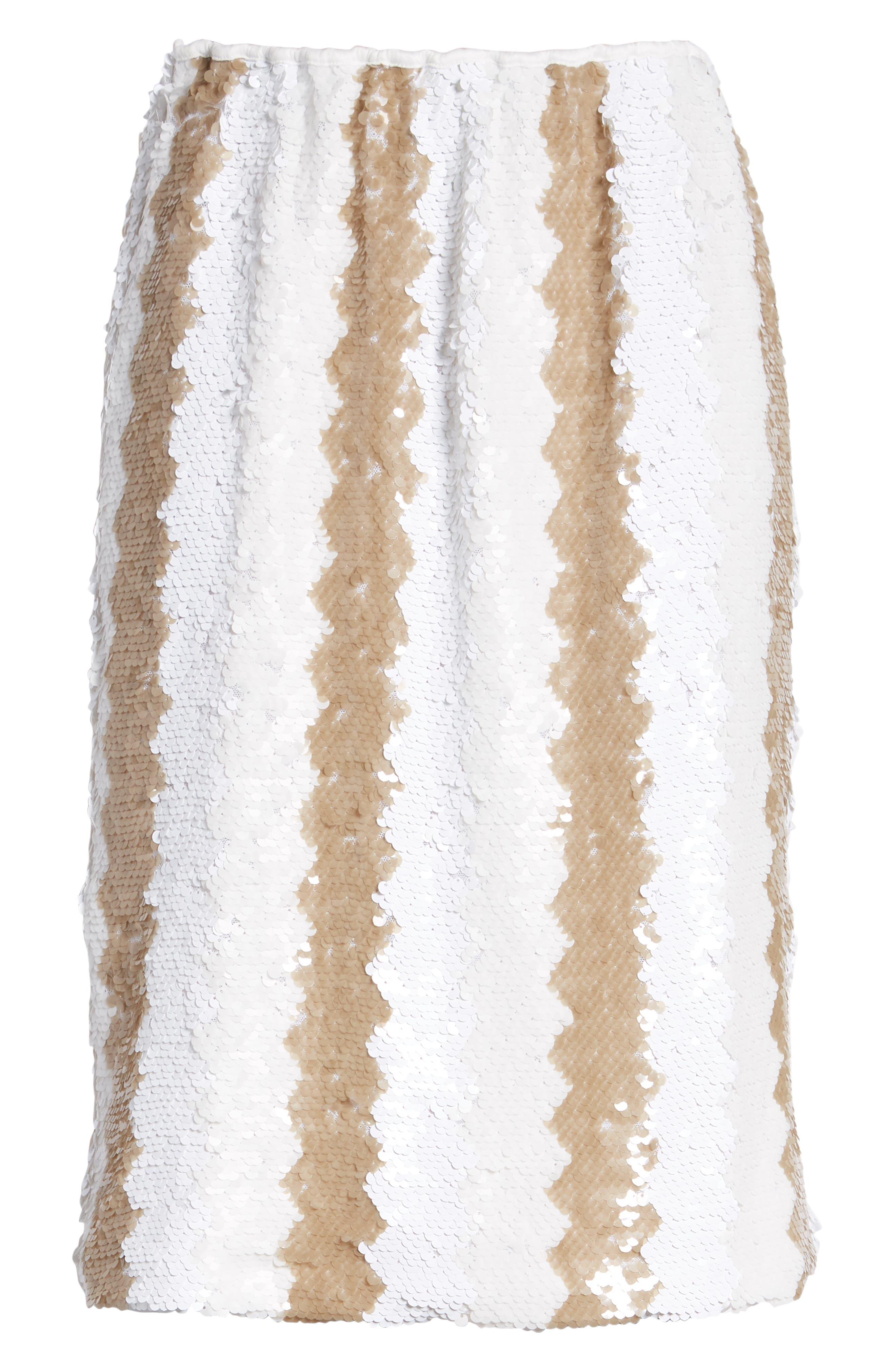Sequin Pencil Skirt,                             Alternate thumbnail 6, color,                             100