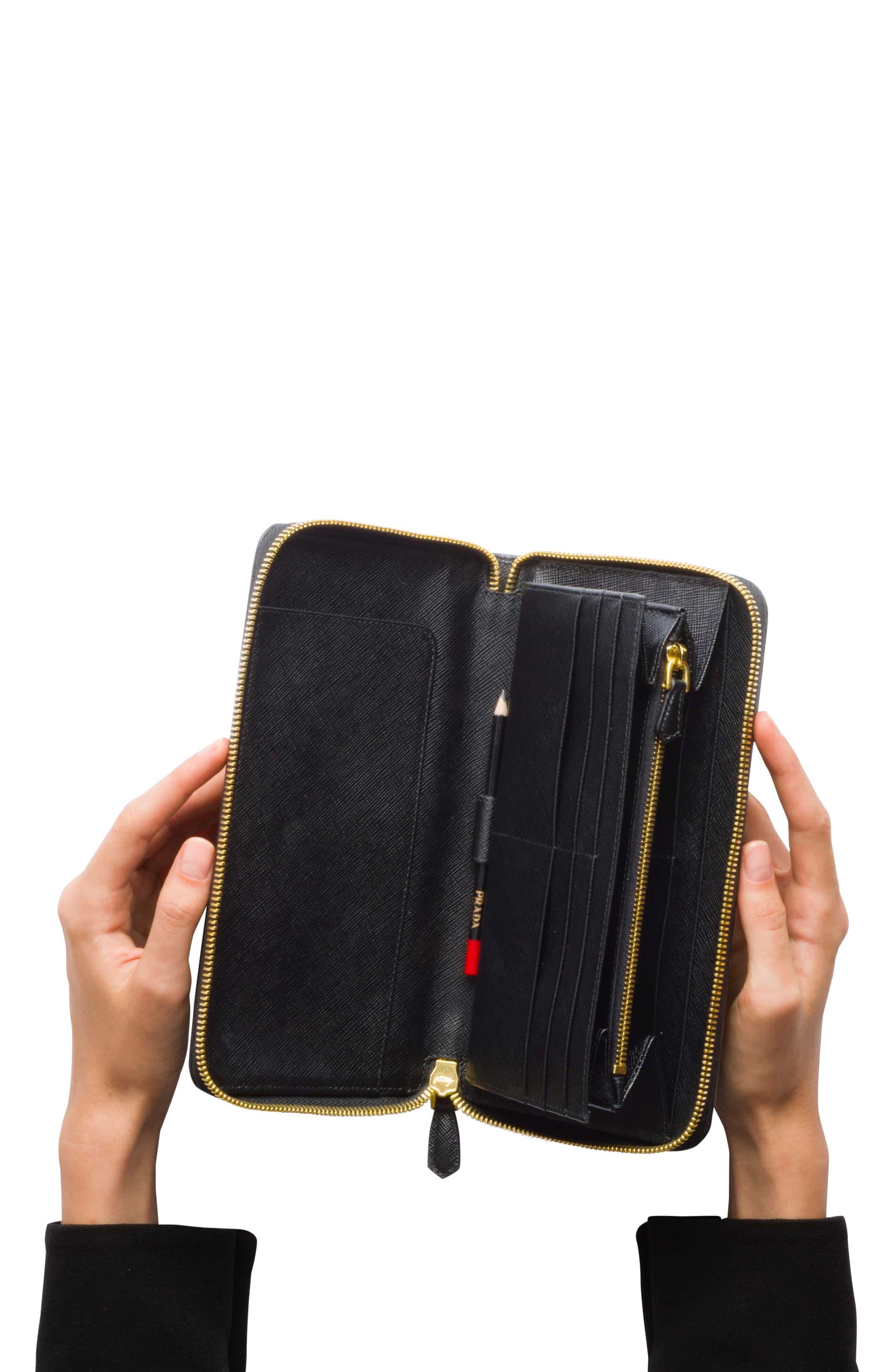 Oro Saffiano Leather Zip Around Wallet,                             Alternate thumbnail 6, color,                             001
