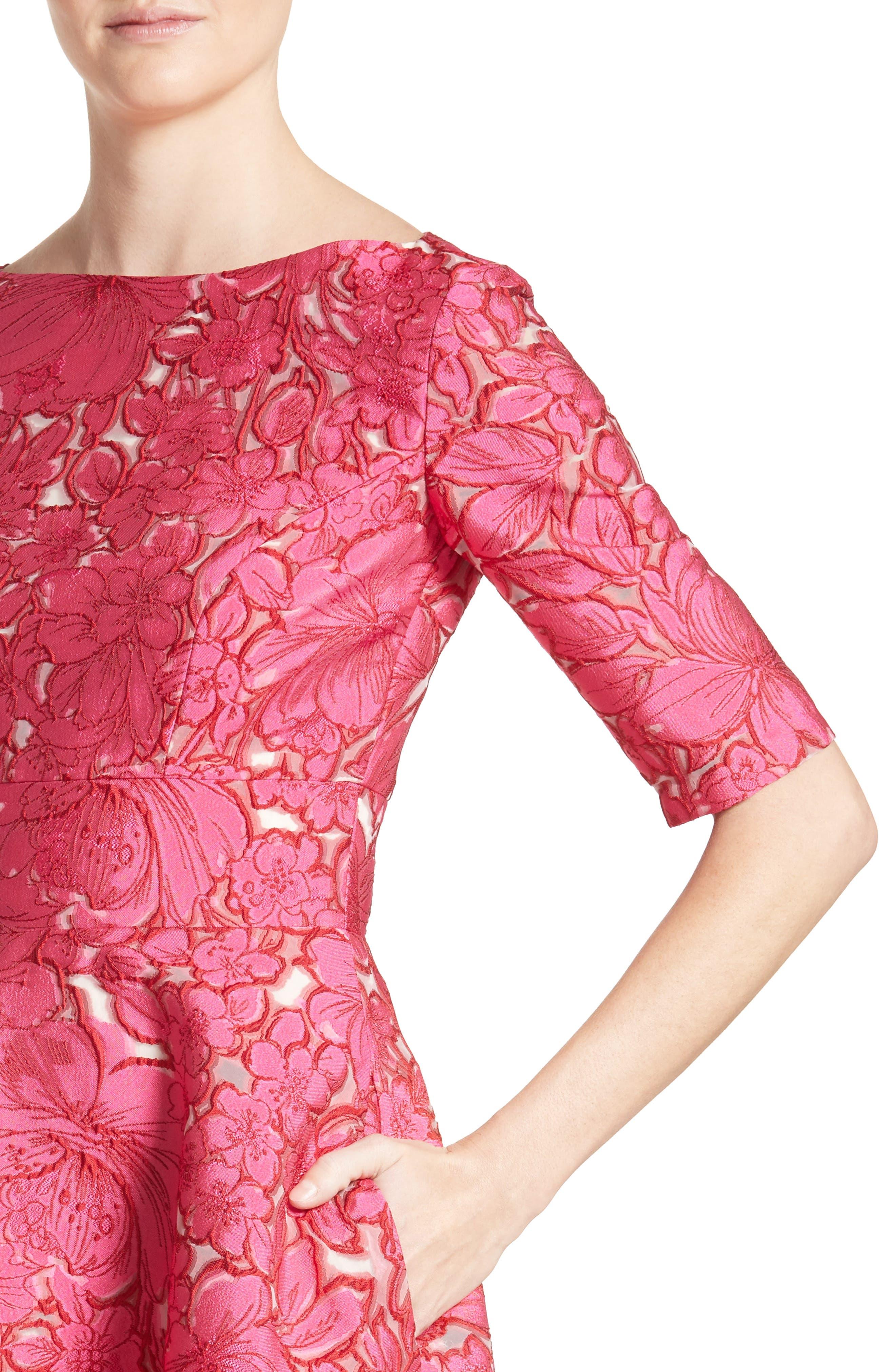 Floral Fil Coupé Fit & Flare Dress,                             Alternate thumbnail 4, color,                             659