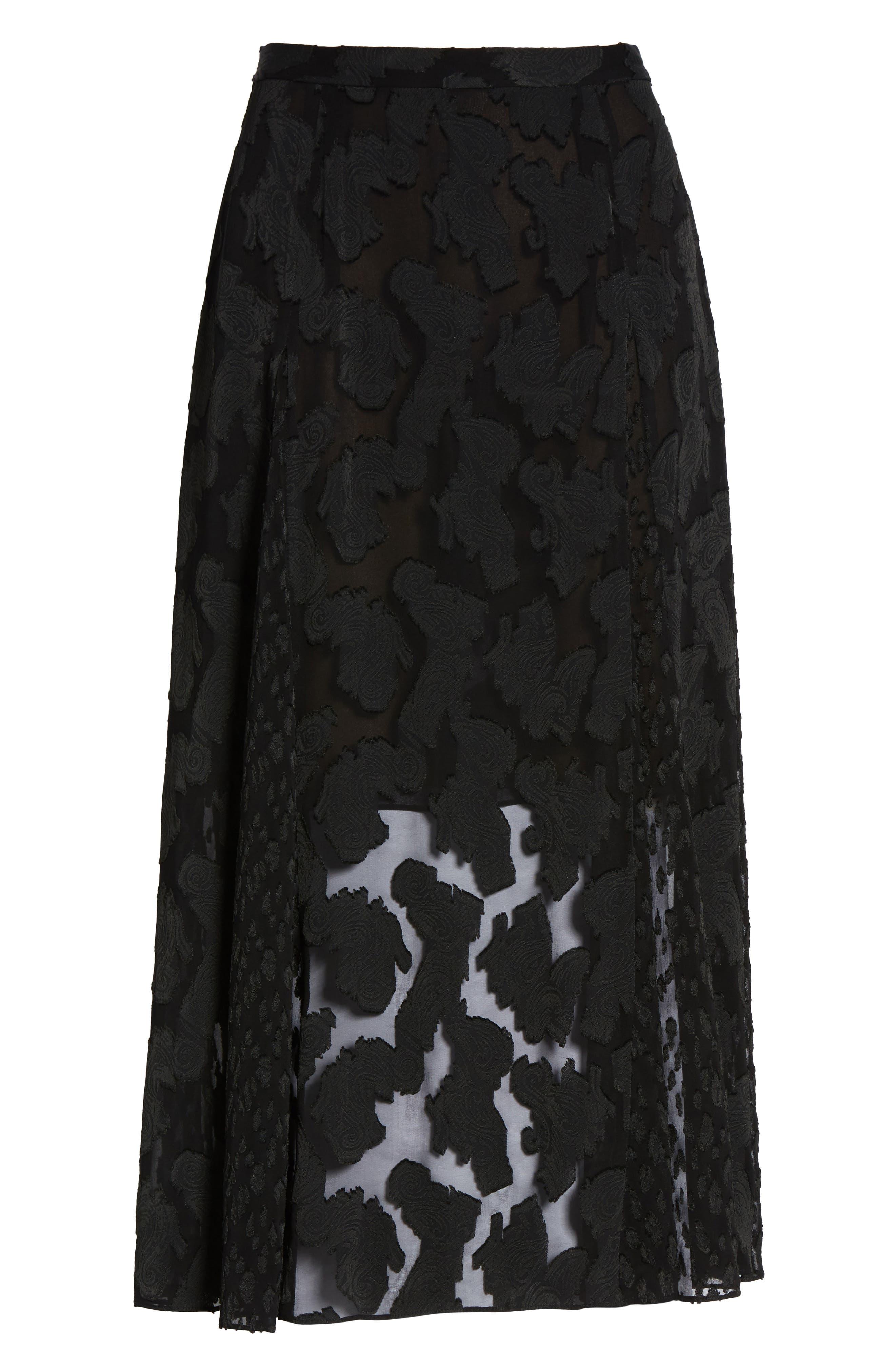 Clip Jacquard Godet Skirt,                             Alternate thumbnail 11, color,