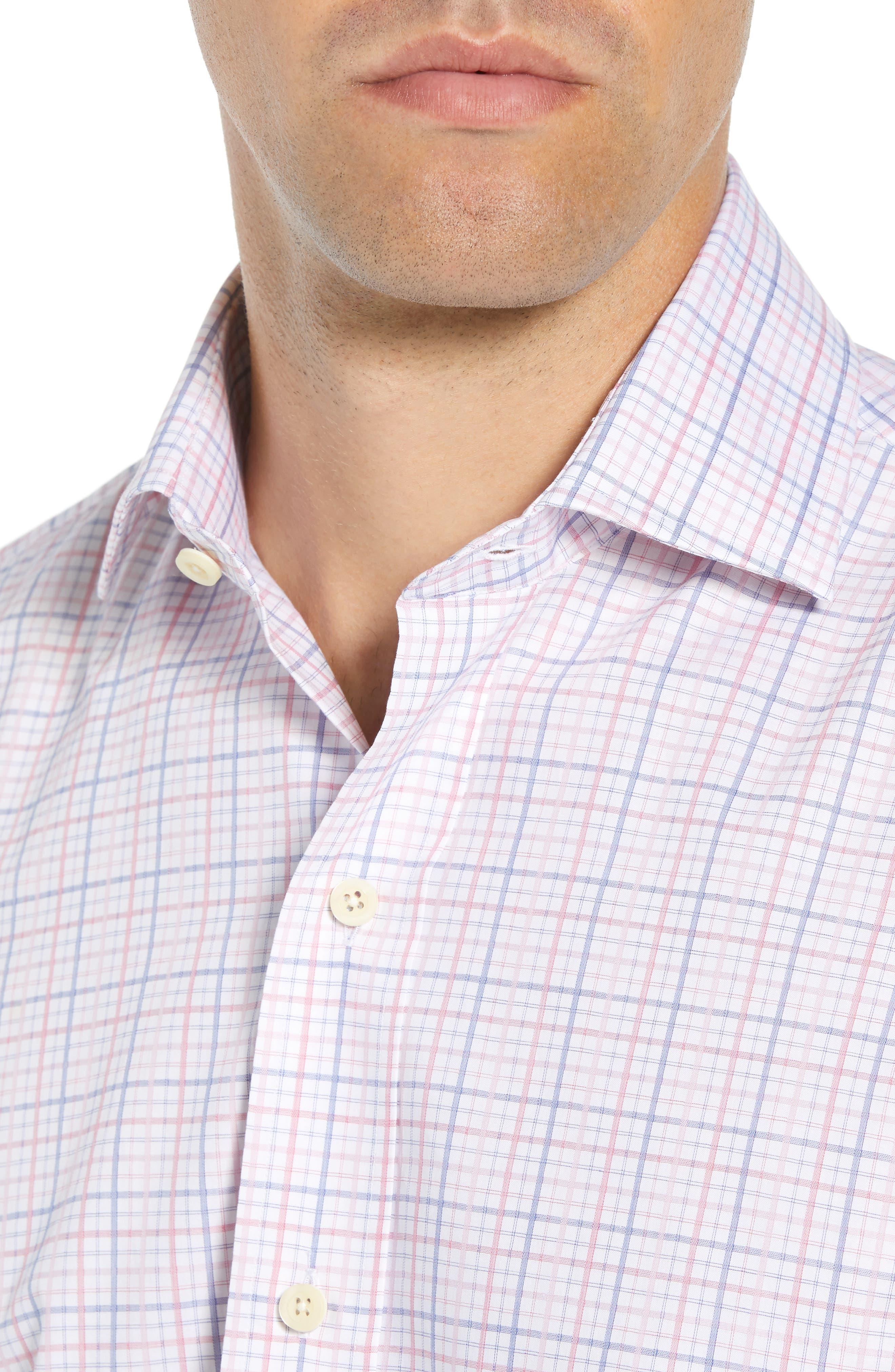 Drazin Trim Fit Check Dress Shirt,                             Alternate thumbnail 2, color,                             PINK