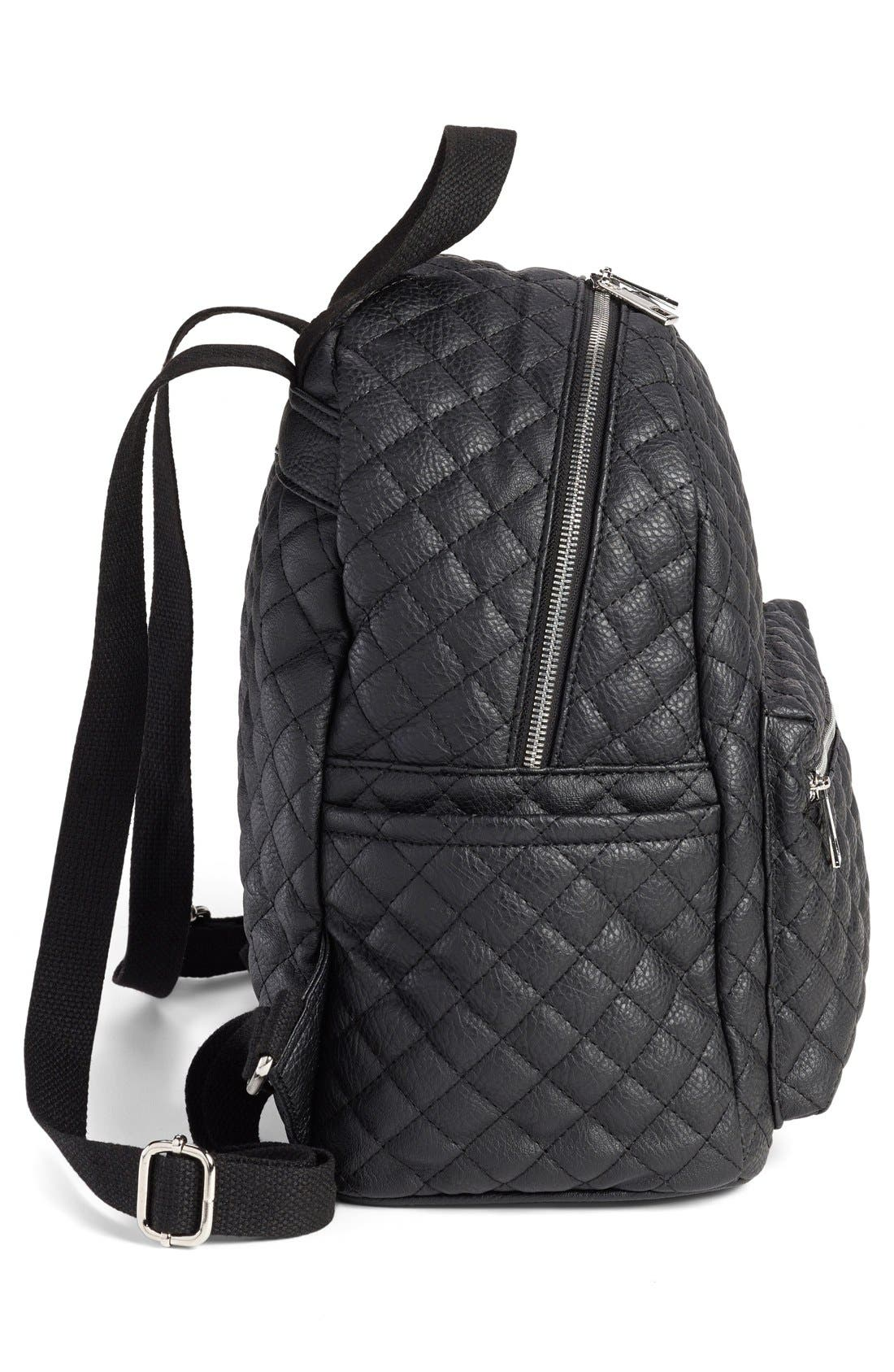 Faux Leather Quilted Backpack,                             Alternate thumbnail 6, color,