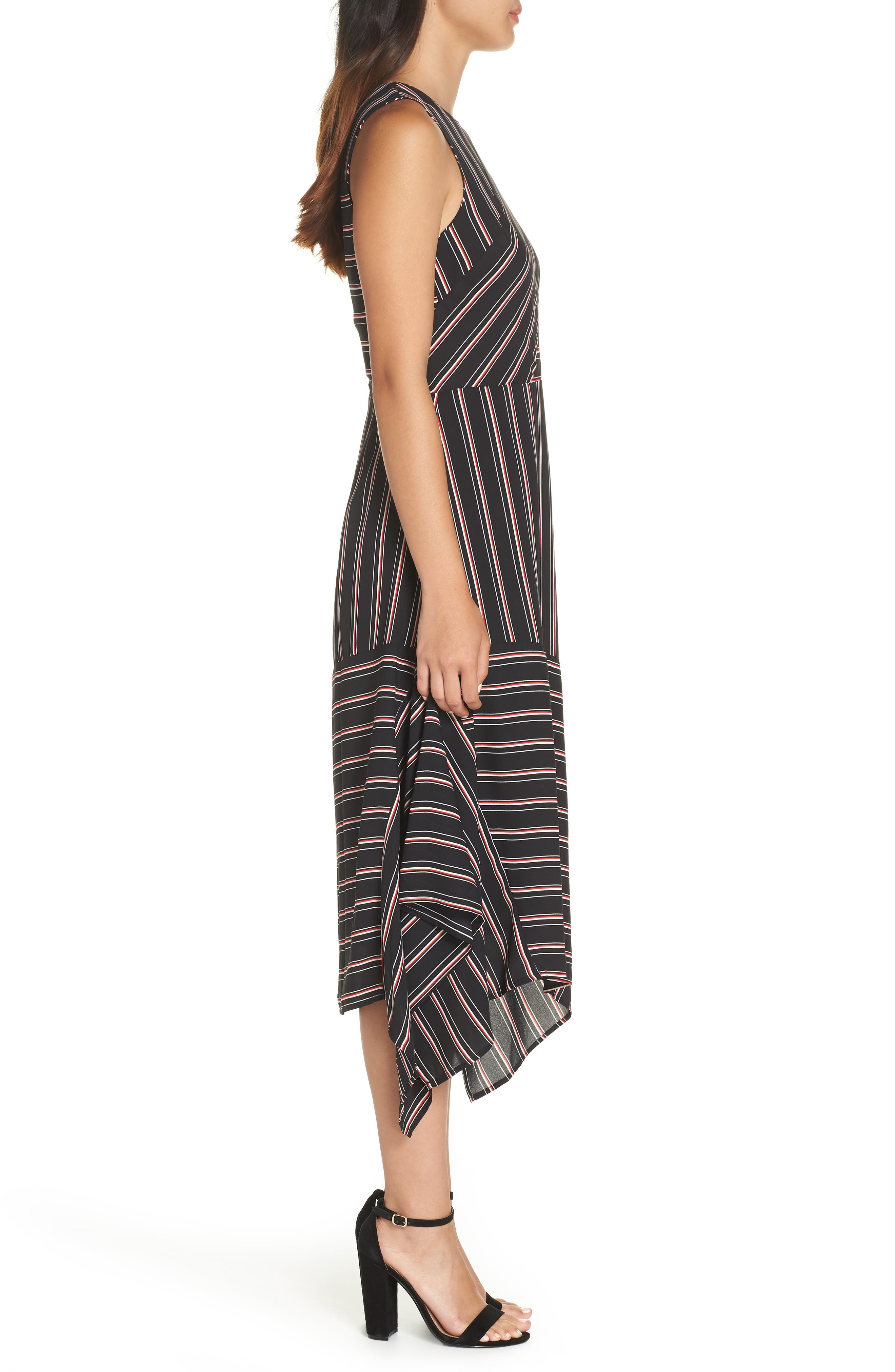 Mix Stripe Midi Dress,                             Alternate thumbnail 3, color,                             BLACK STRIPE MIX COMBO