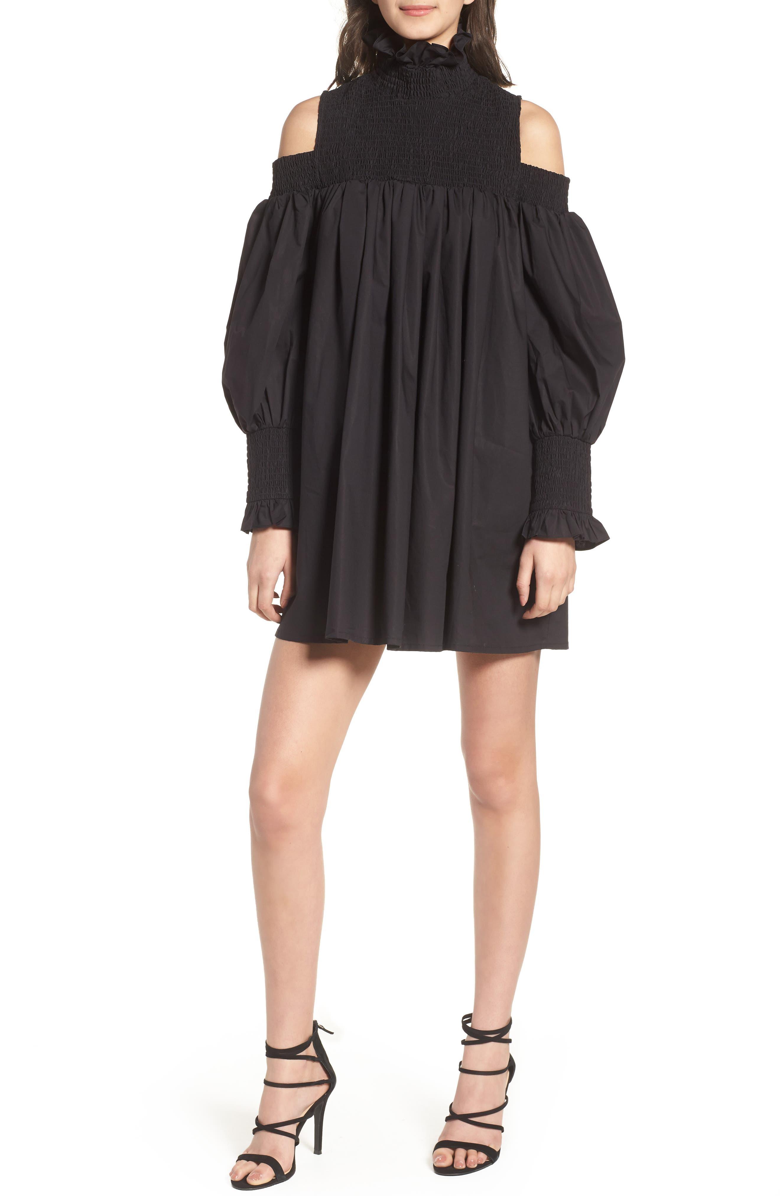Ivy Cold Shoulder Dress,                             Main thumbnail 1, color,                             BLACK COTTON