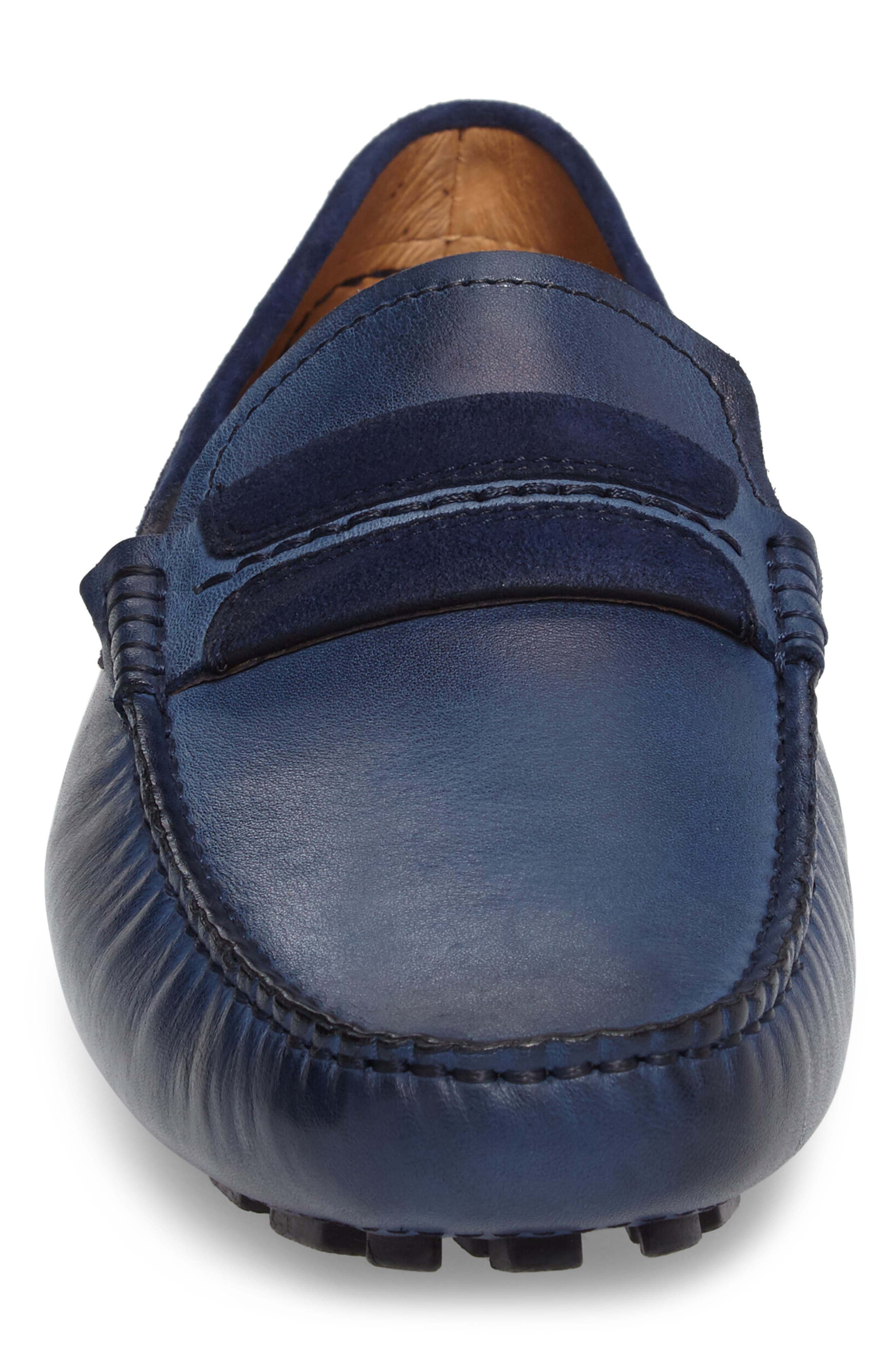 ZANZARA,                             Francesca Driving Shoe,                             Alternate thumbnail 4, color,                             BLUE LEATHER
