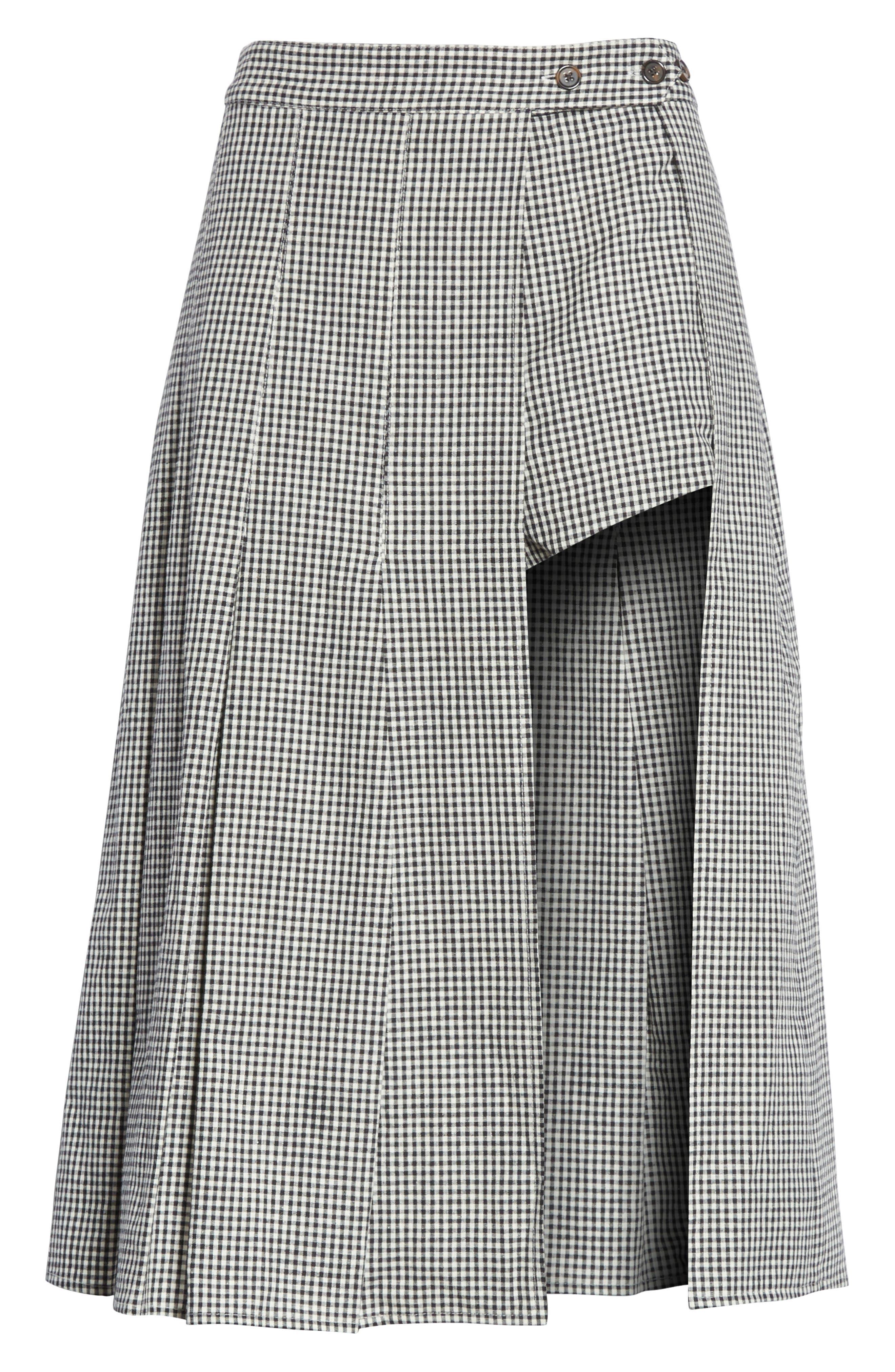 Uniform Gingham Linen & Cotton Skirt,                             Alternate thumbnail 6, color,                             004