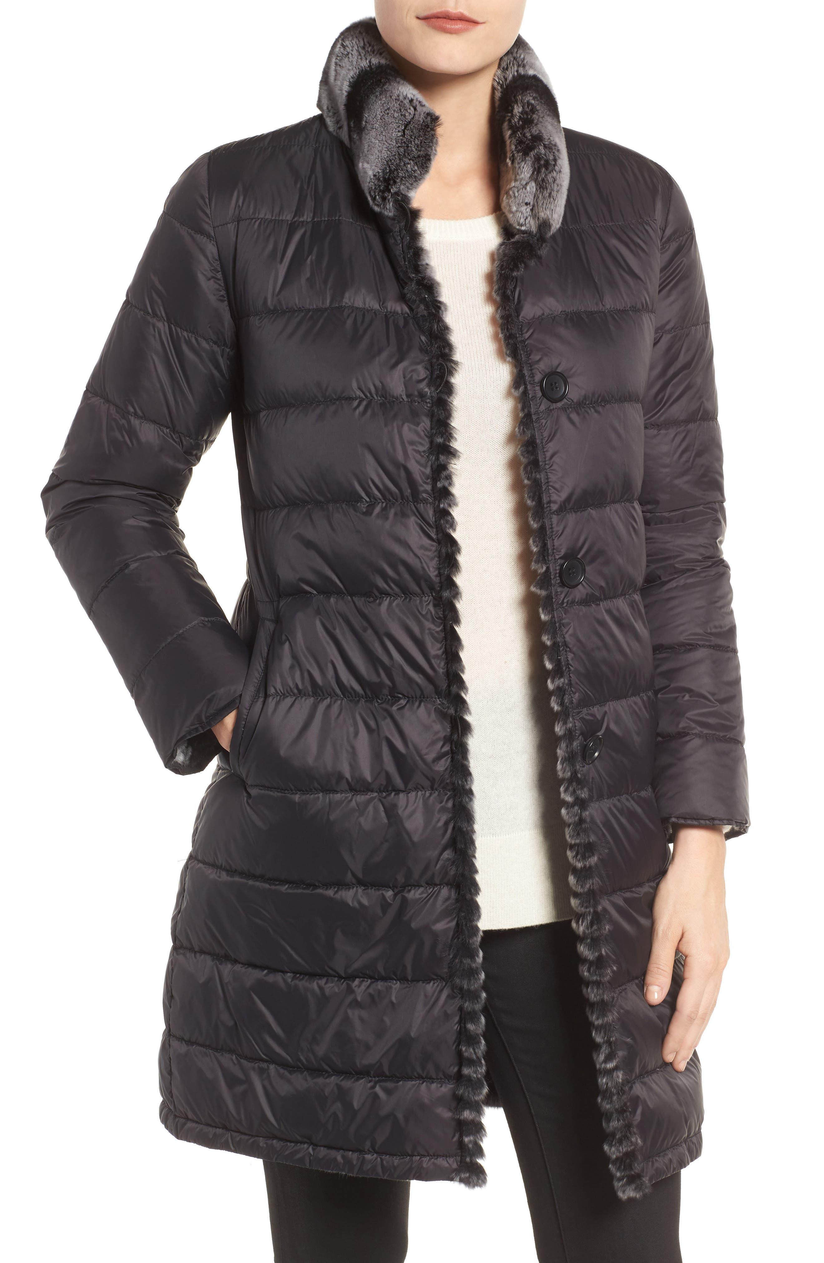 Reversible Genuine Rabbit Fur & Down Coat,                             Main thumbnail 1, color,                             BLACK