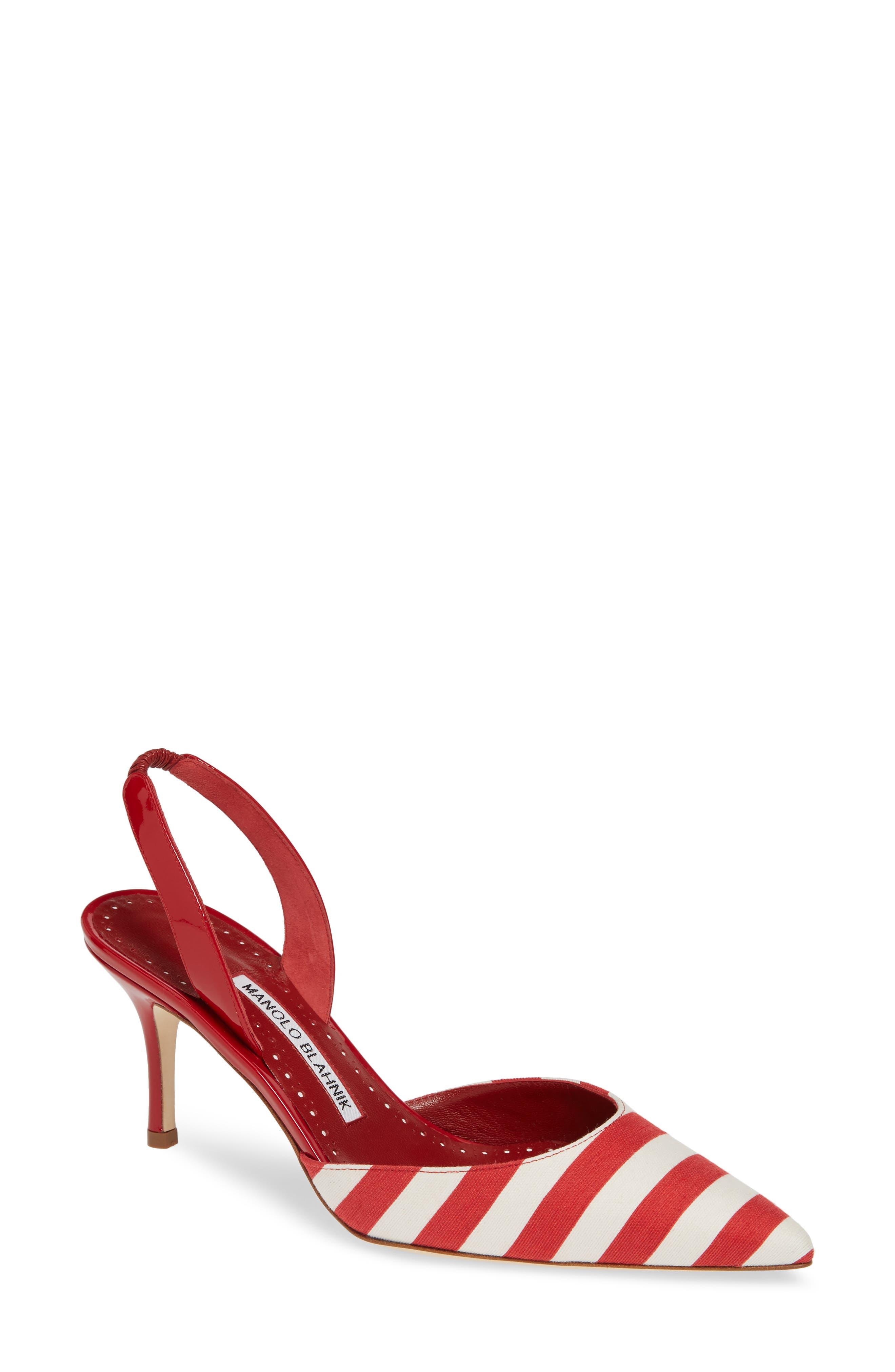 'Carolyne' Pointy Toe Slingback Pump,                         Main,                         color, RED/ WHITE STRIPE