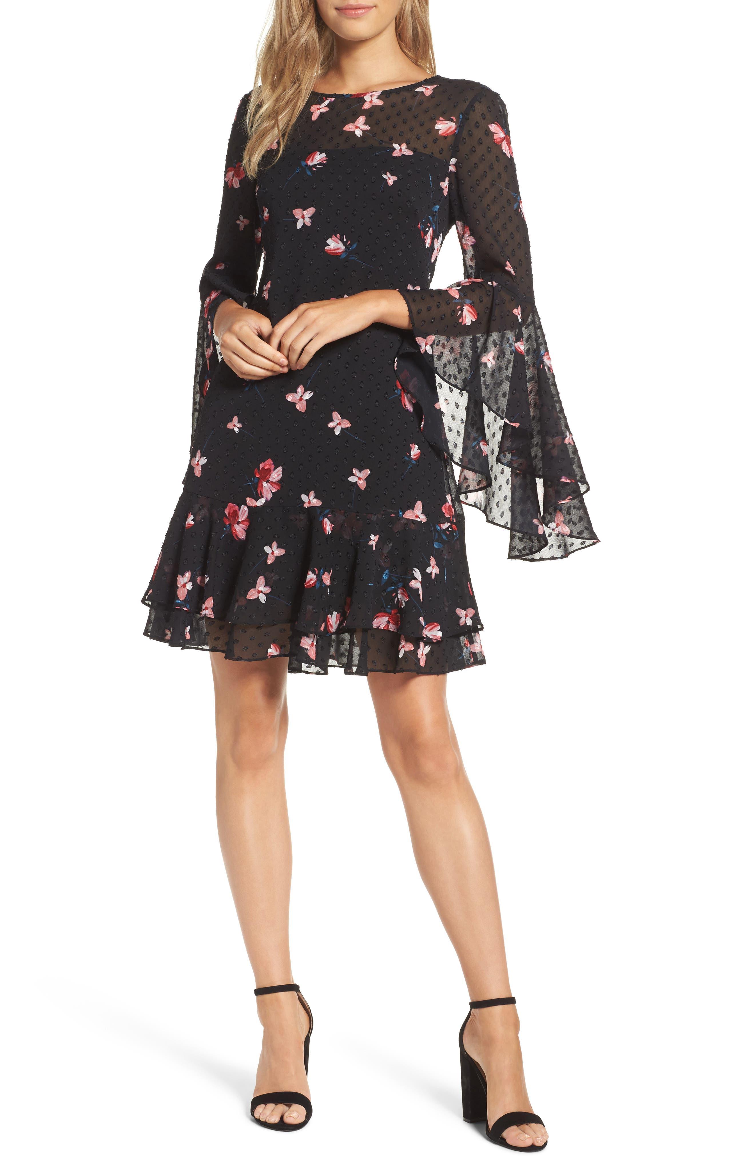 Ruffled Fit & Flare Dress,                             Main thumbnail 1, color,