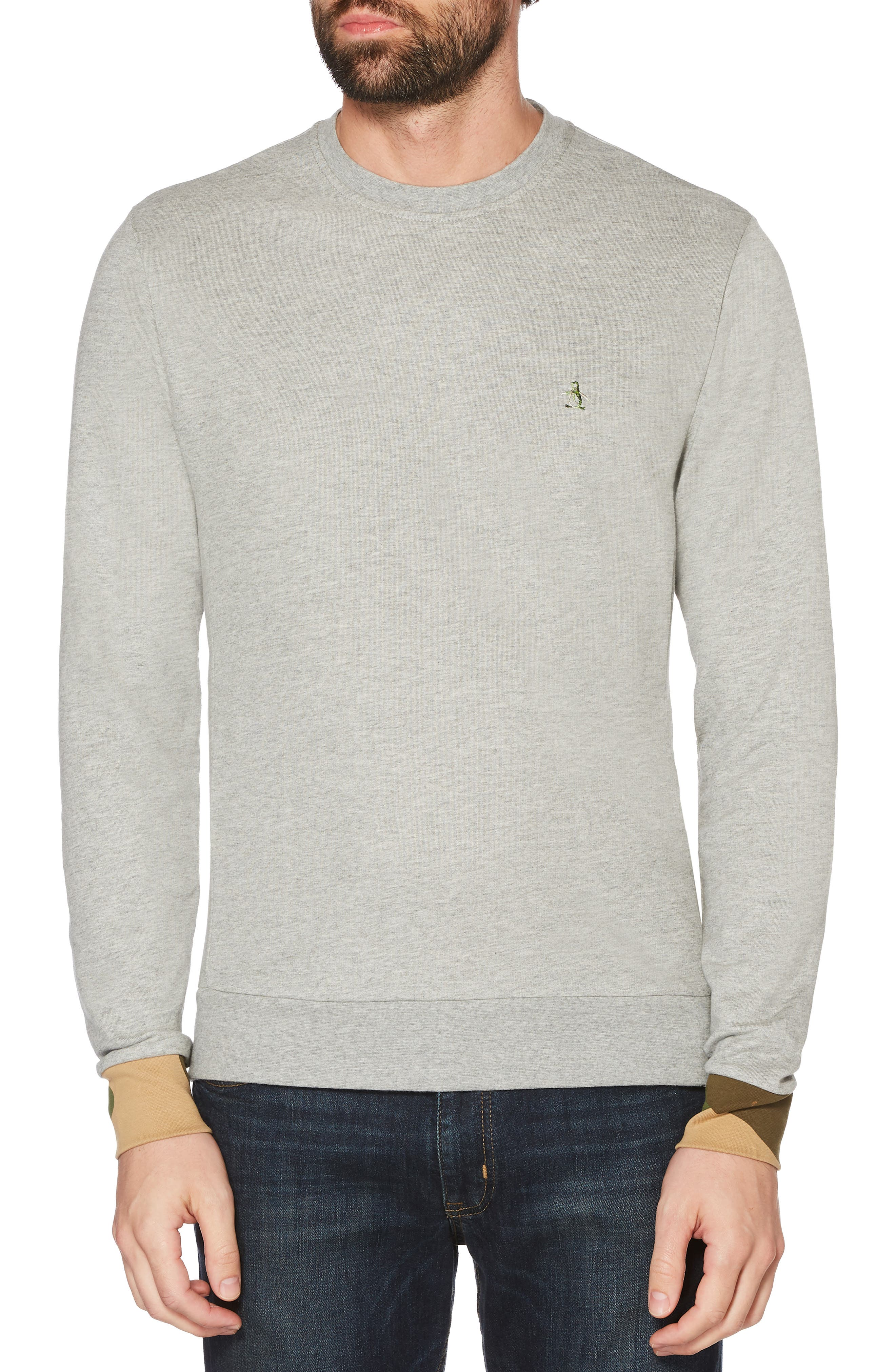 Camo Cuff Sweatshirt,                             Main thumbnail 1, color,                             RAIN HEATHER