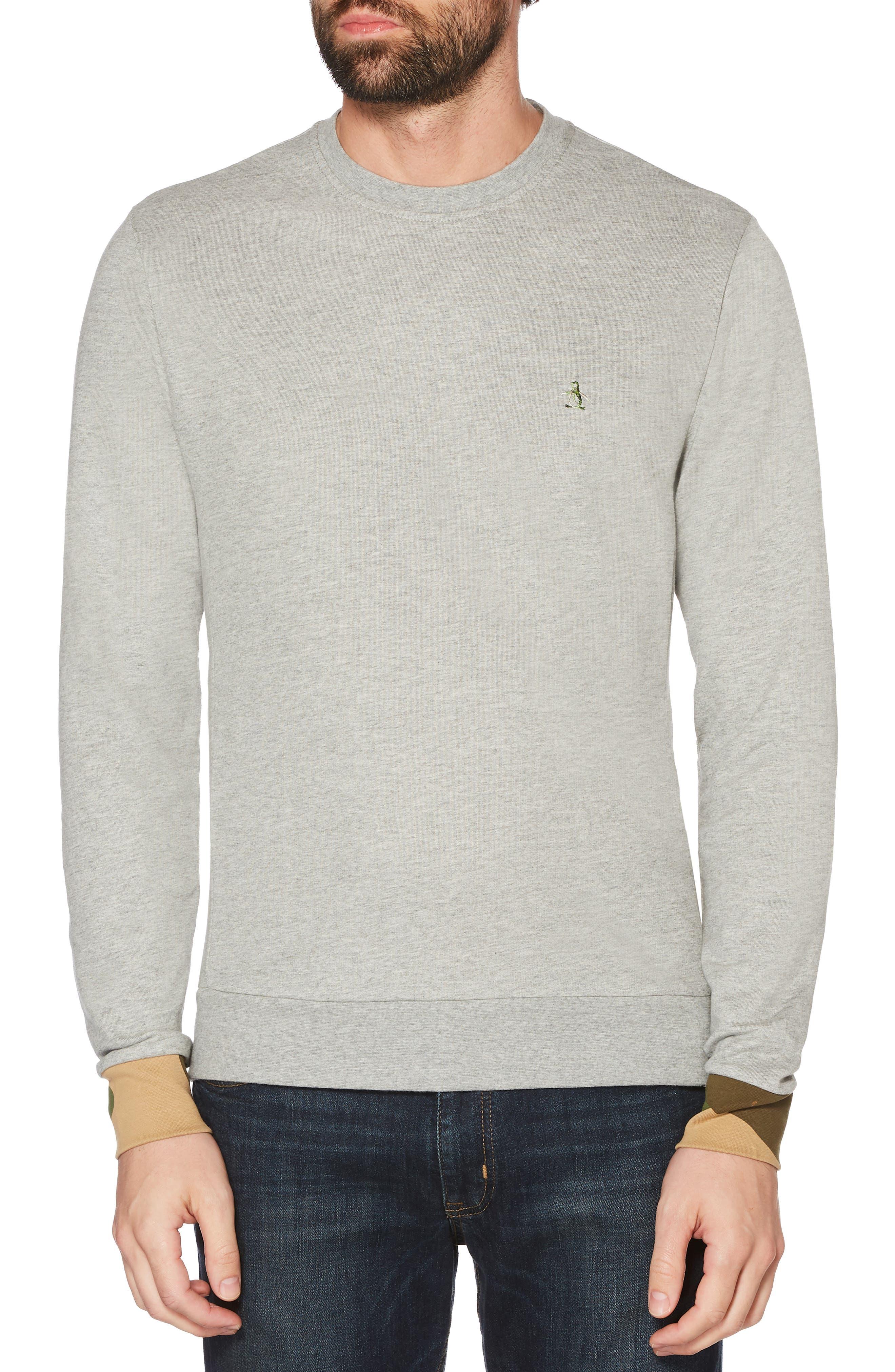 Camo Cuff Sweatshirt,                         Main,                         color, RAIN HEATHER